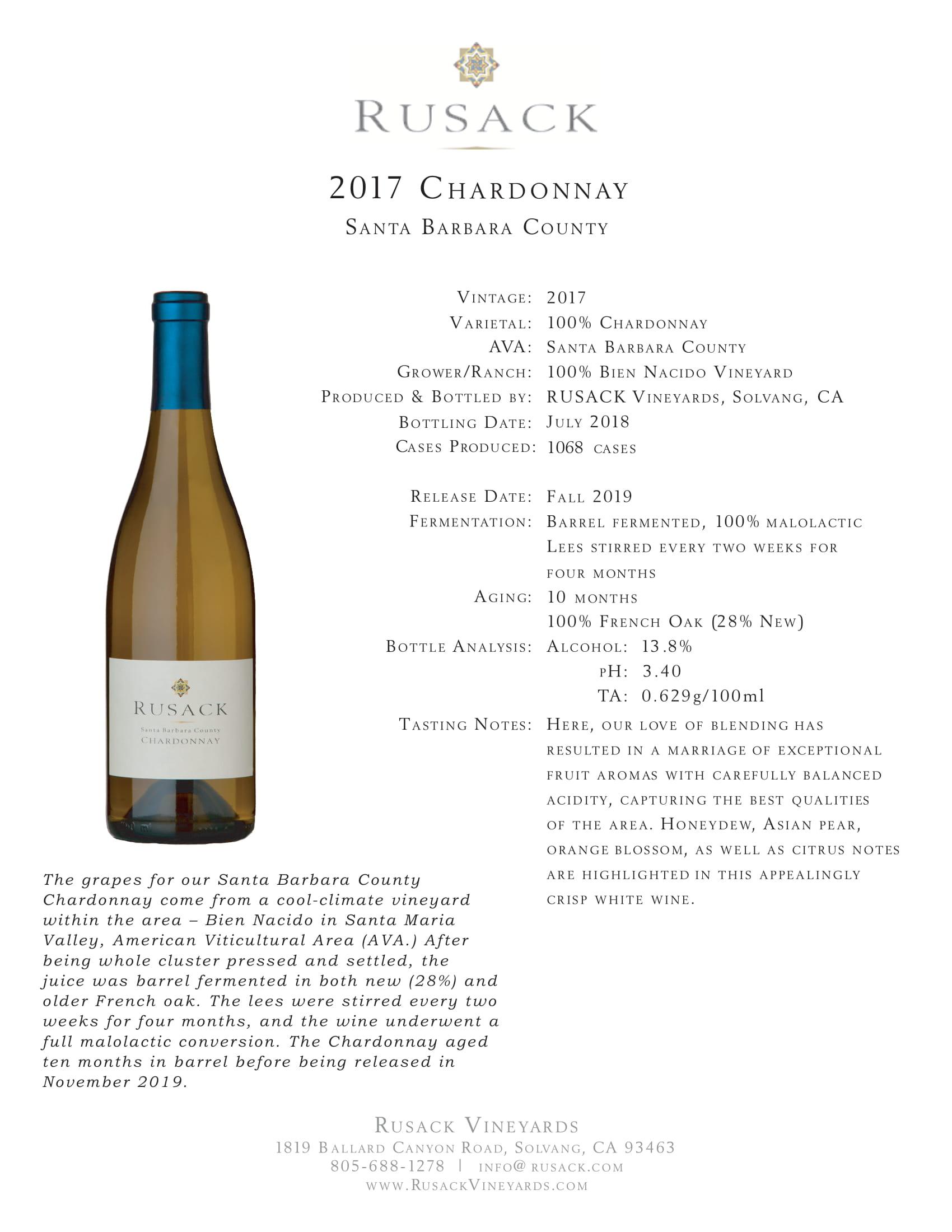Rusack Vineyards Chardonnay Santa Barbara County Sell Sheet