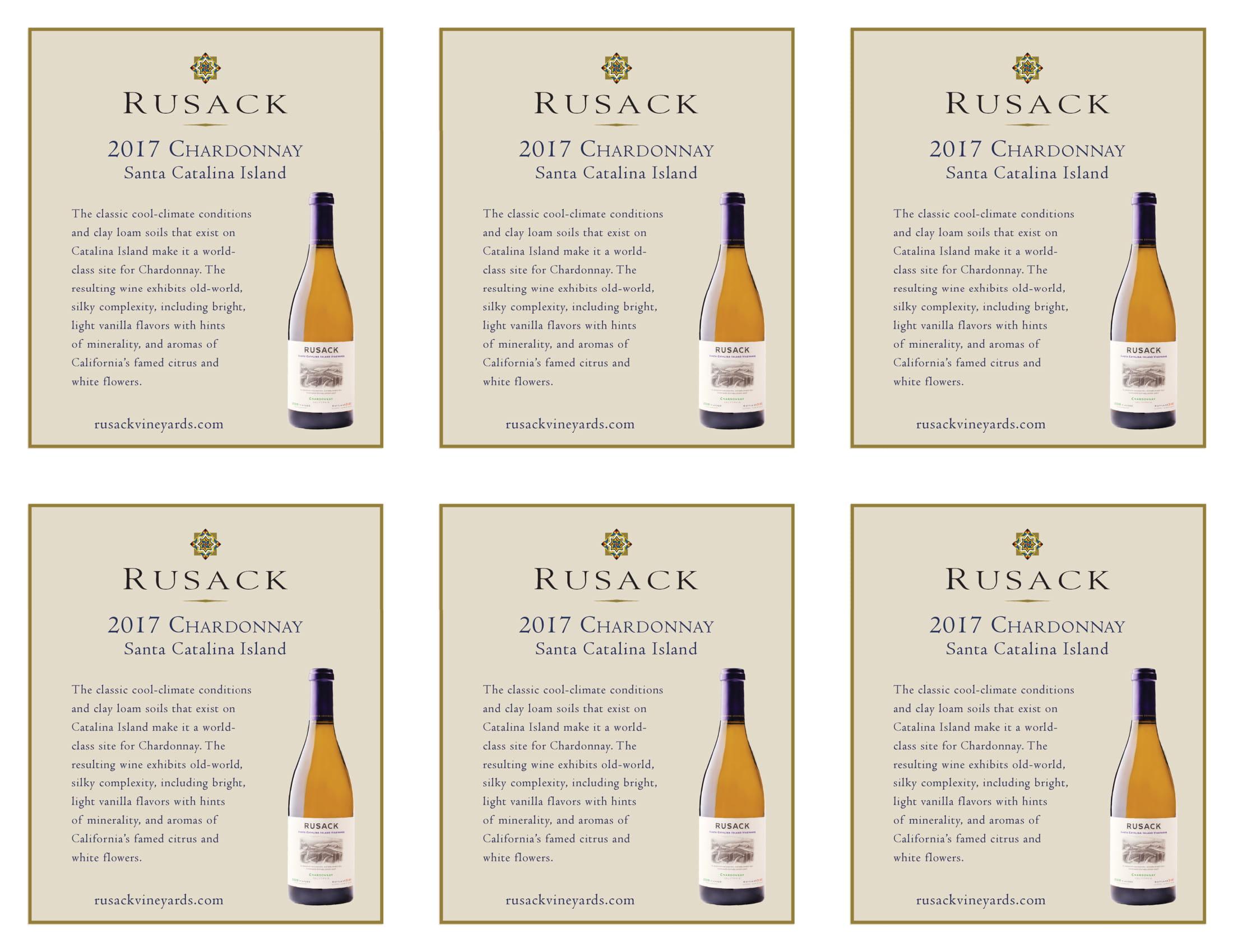Rusack Vineyards Chardonnay Santa Catalina Island Shelf Talker