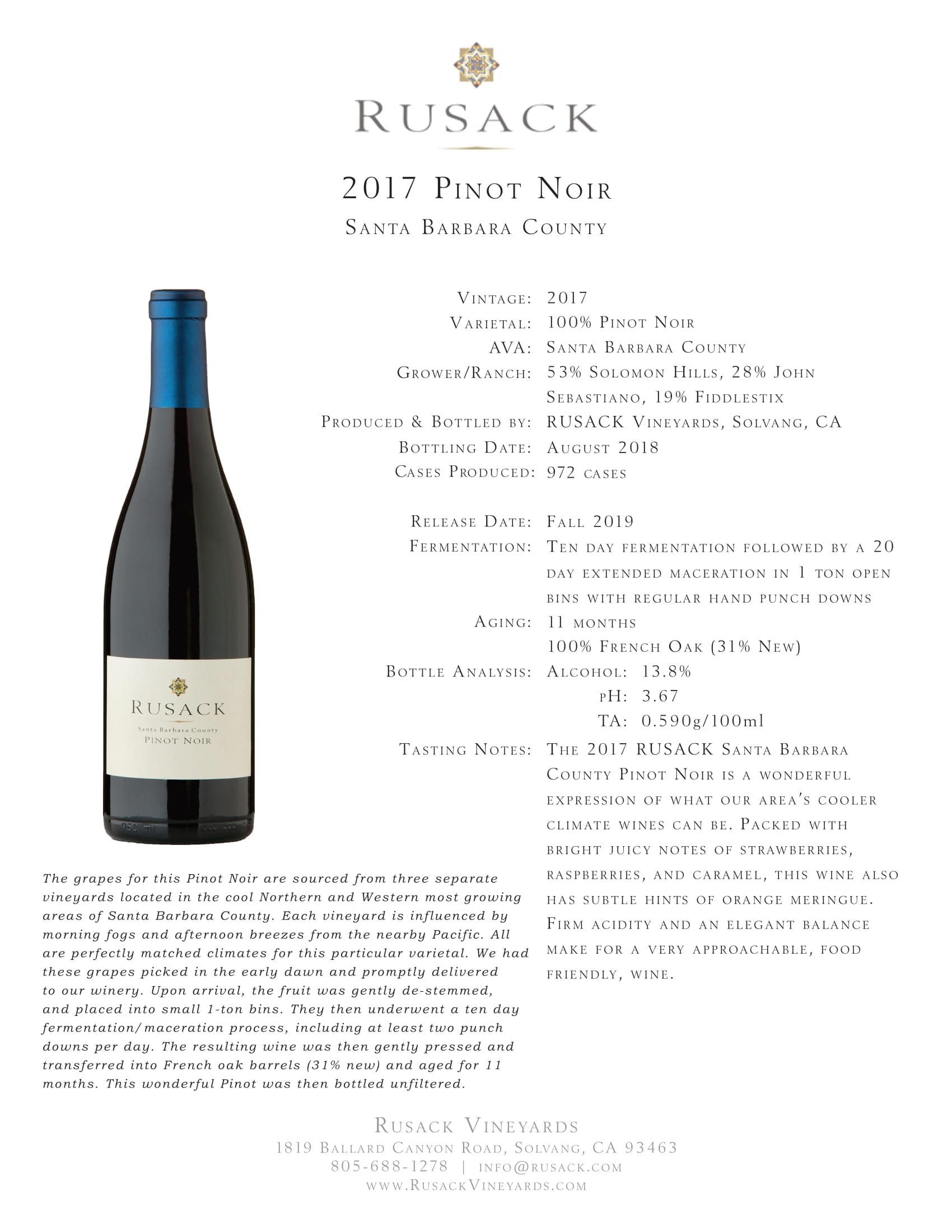 Rusack Vineyards Pinot Noir Santa Barbara County Sell Sheet