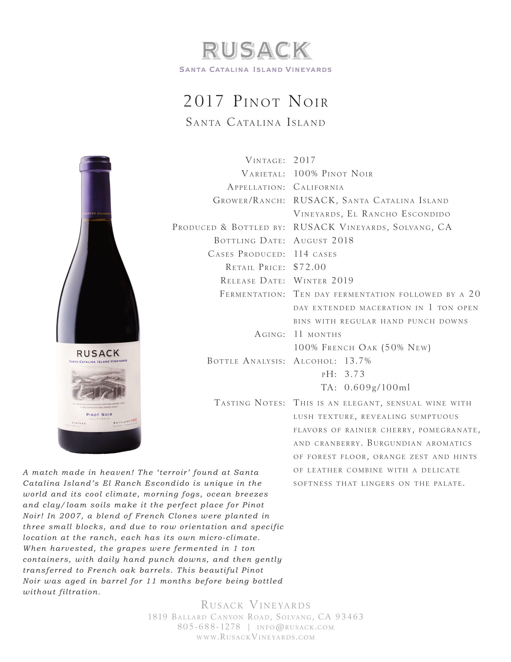 Rusack Vineyards Pinot Noir Santa Catalina Island Sell Sheet