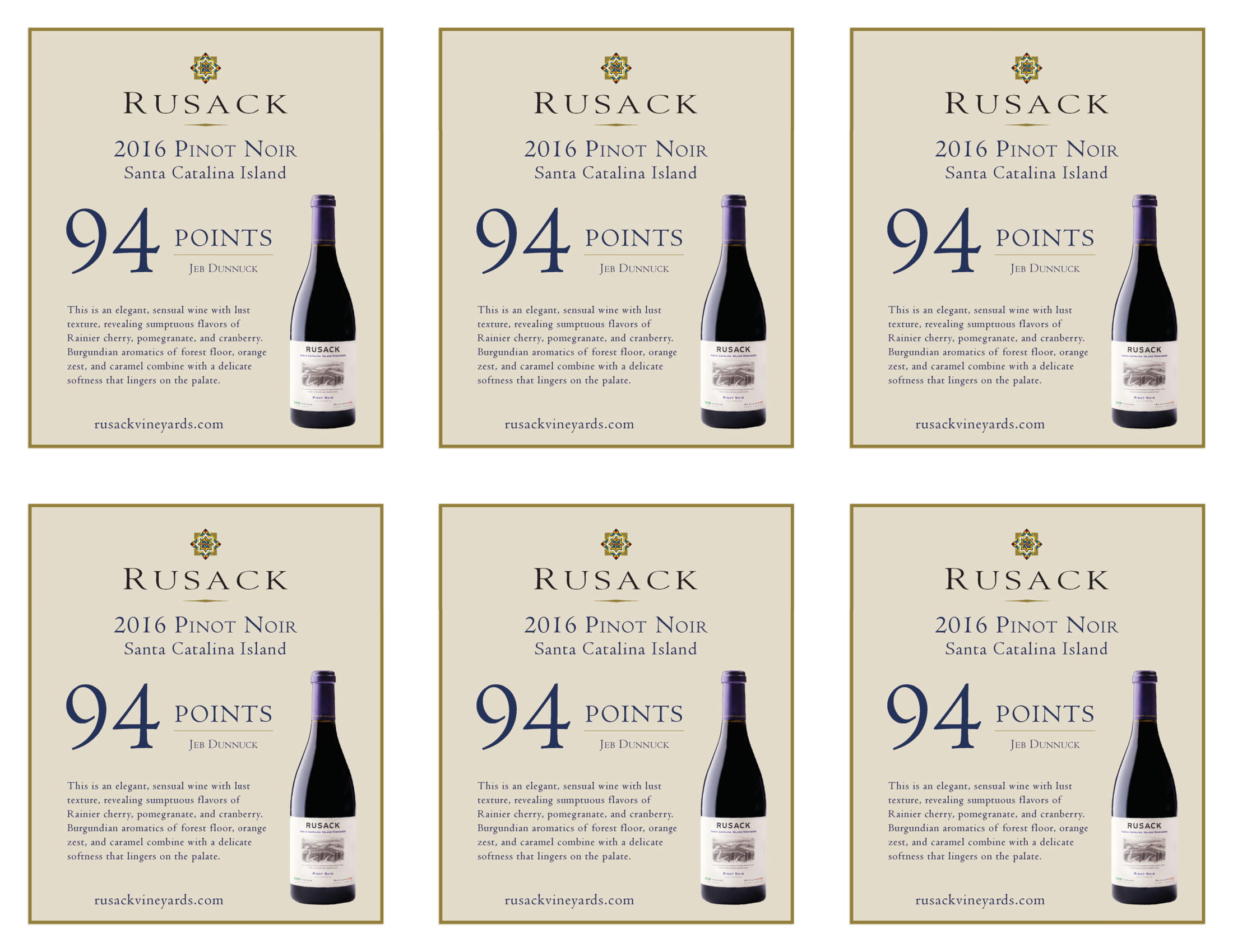 Rusack Vineyards Pinot Noir Santa Catalina Island Shelf Talker