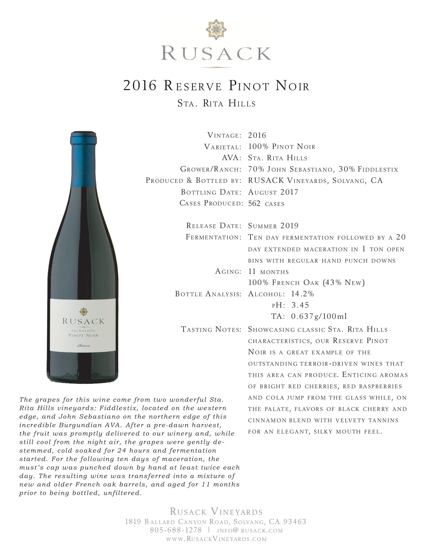 Rusack Vineyards Pinot Noir Santa Rita Hills Reserve Sell Sheet