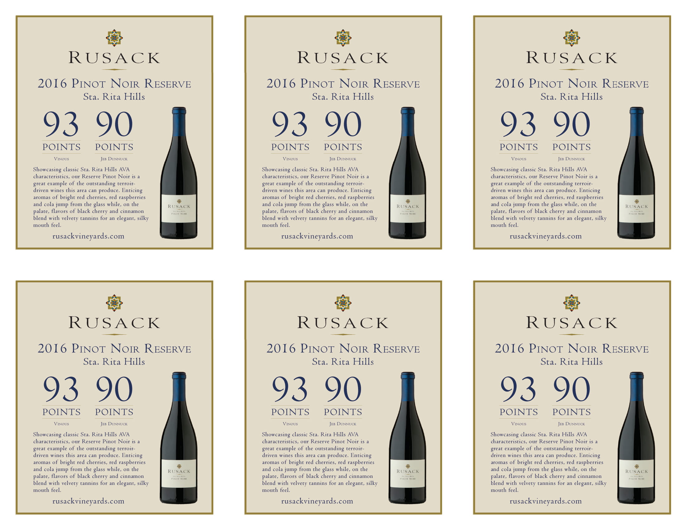 Rusack Vineyards Pinot Noir Santa Rita Hills Reserve Shelf Talker