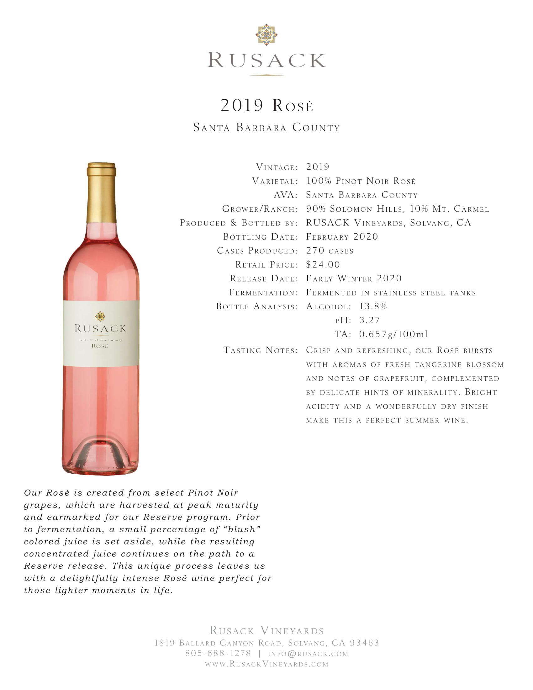 Rusack Vineyards Rosé Santa Barbara County Sell Sheet