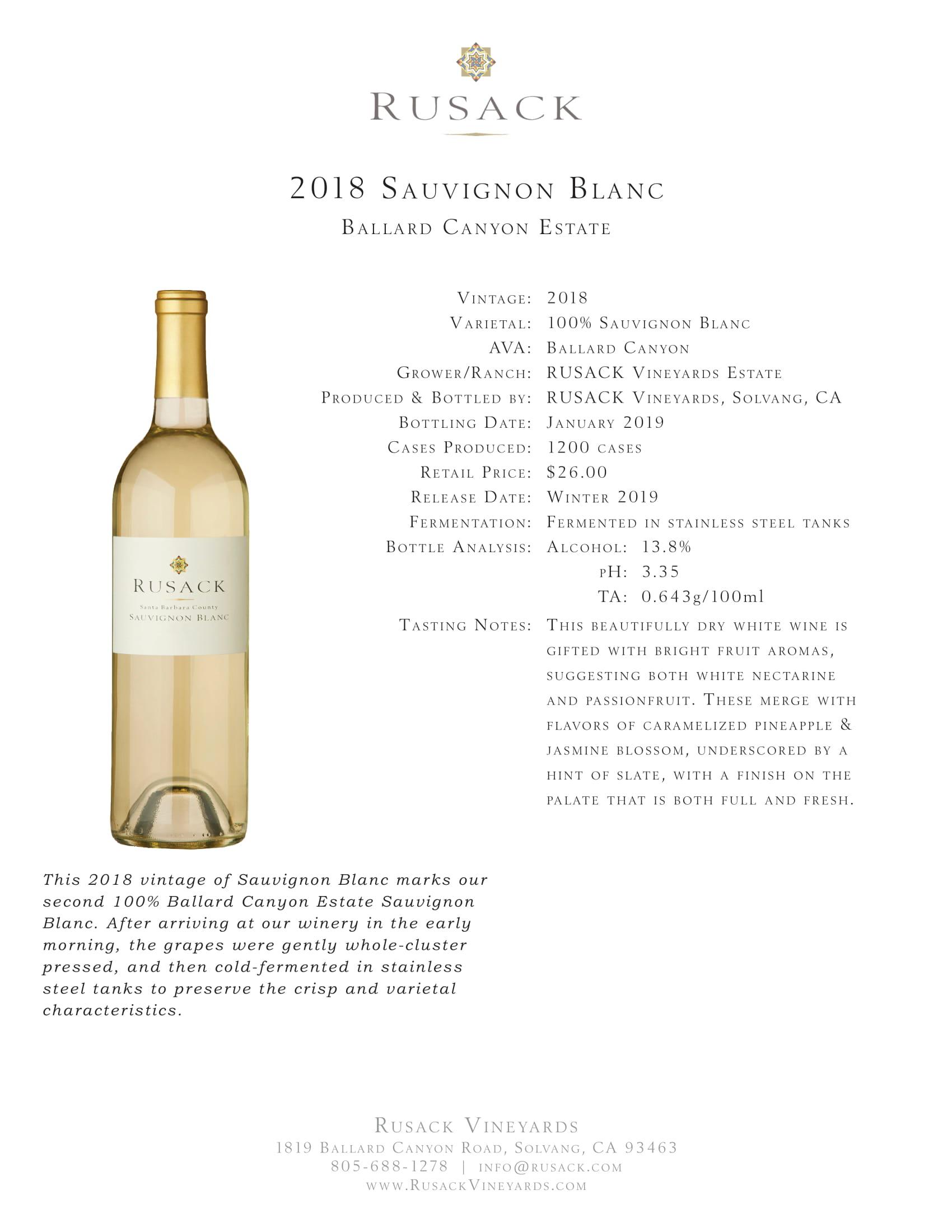 Rusack Vineyards Sauvignon Blanc Ballard Canyon Estate Reserve Sell Sheet