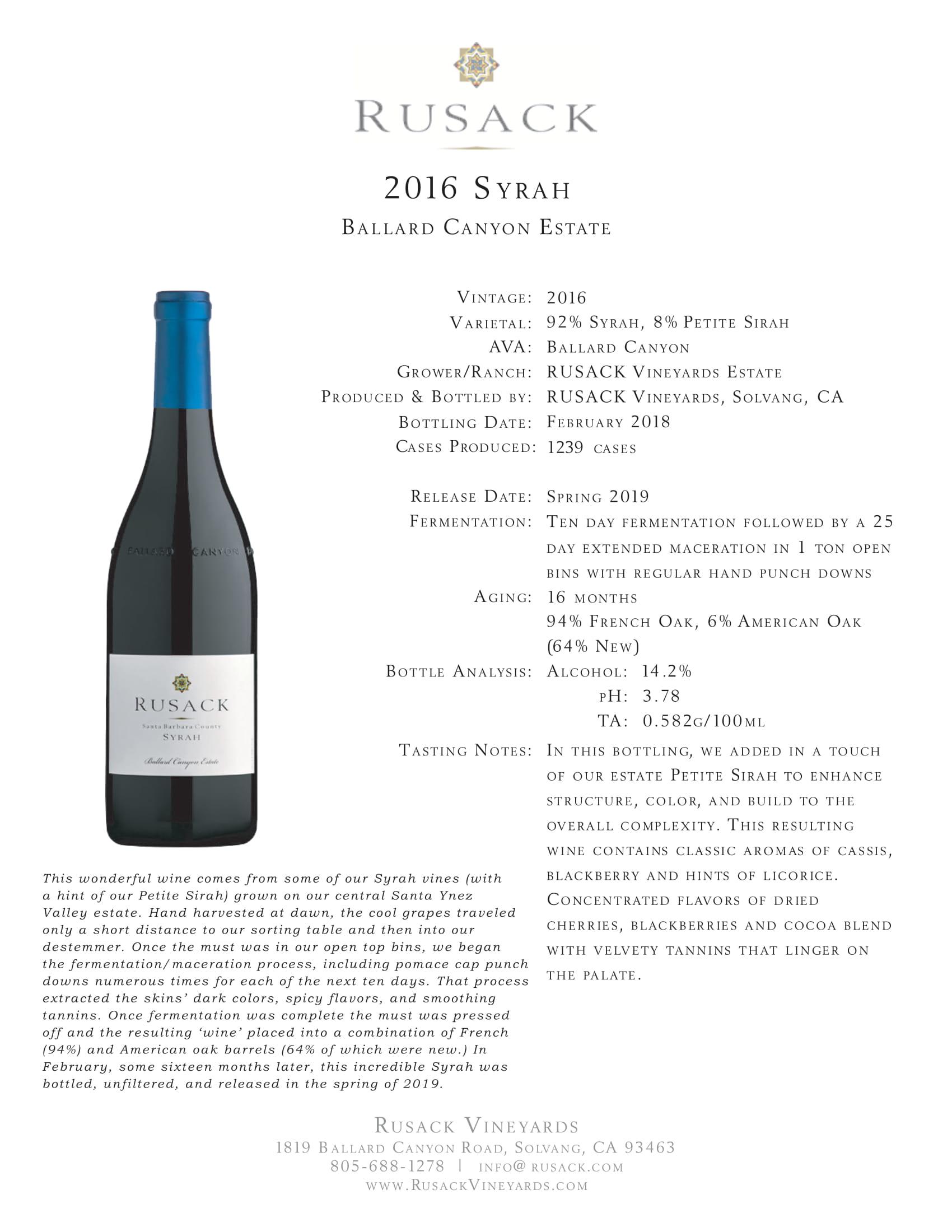 Rusack Vineyards Syrah Ballard Canyon Estate Sell Sheet