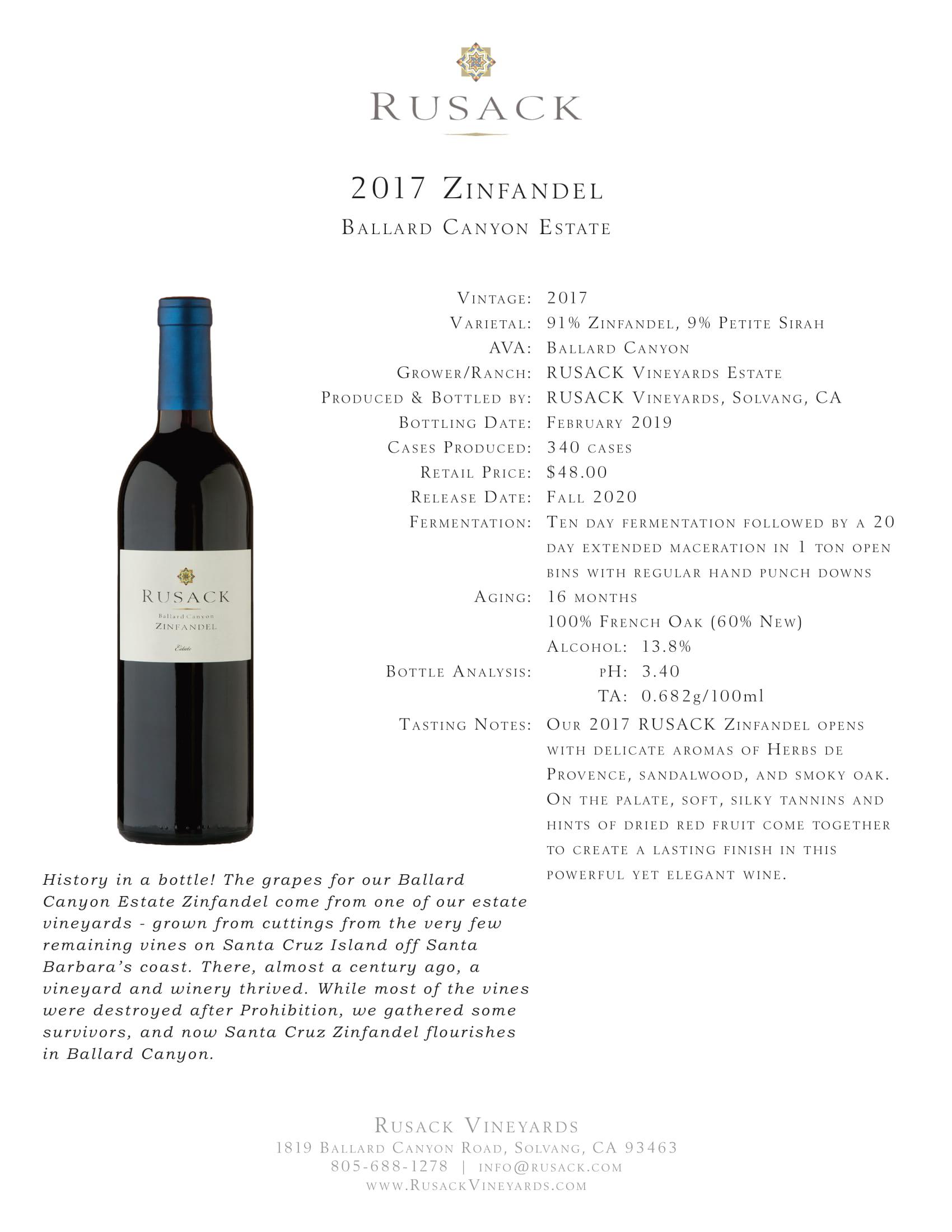 Rusack Vineyards Zinfandel Ballard Canyon Estate Sell Sheet