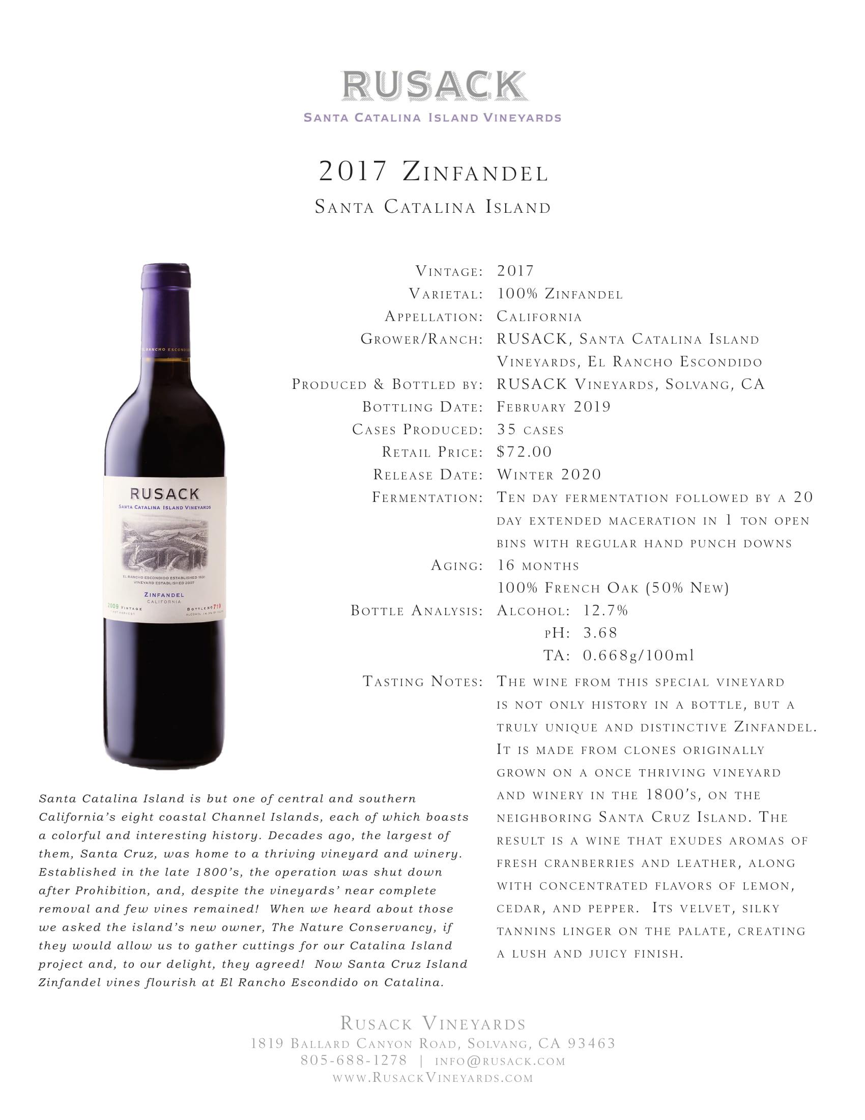 Rusack Vineyards Zinfandel Santa Catalina Island Sell Sheet