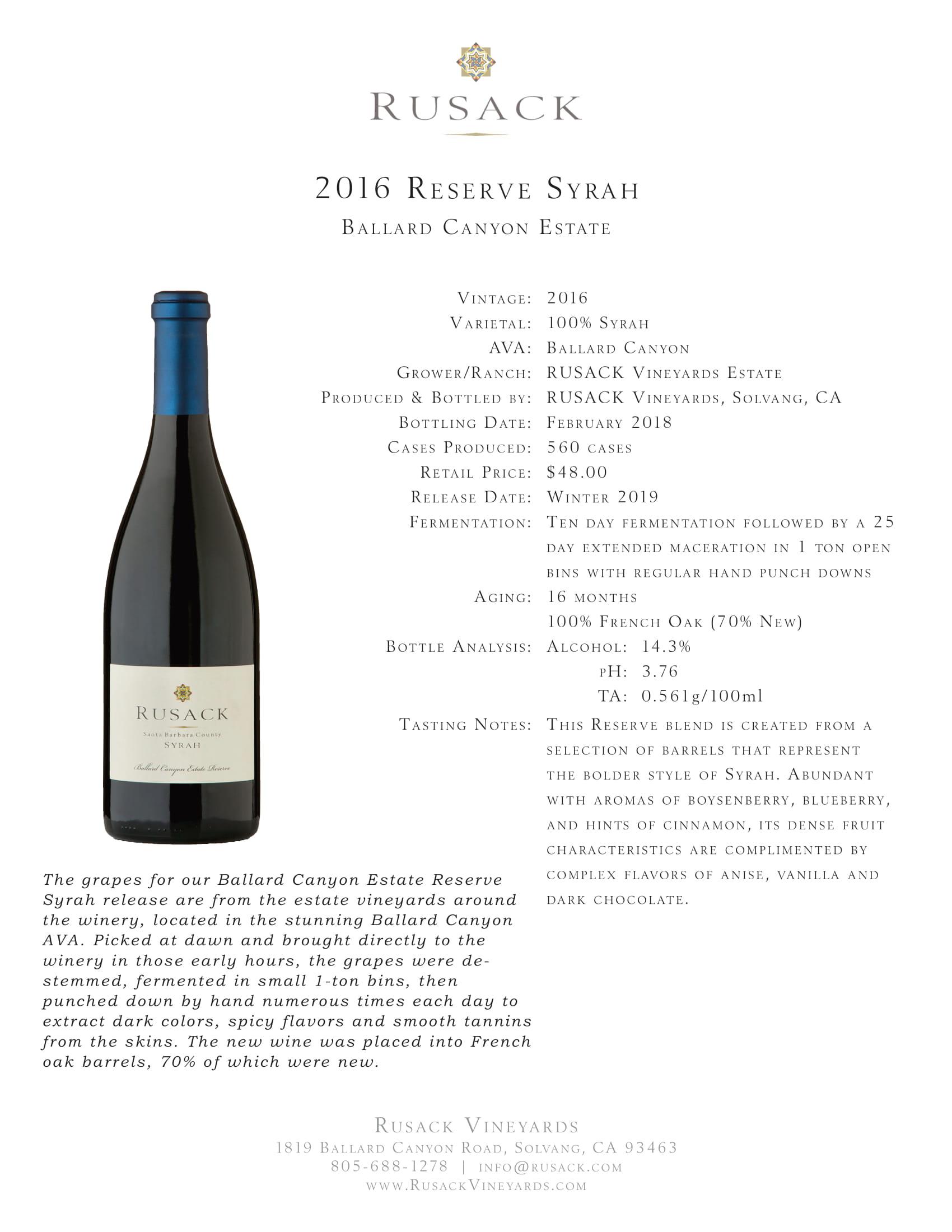 Ruscak Vineyards Syrah Ballard Canyon Estate Reserve Sell Sheet