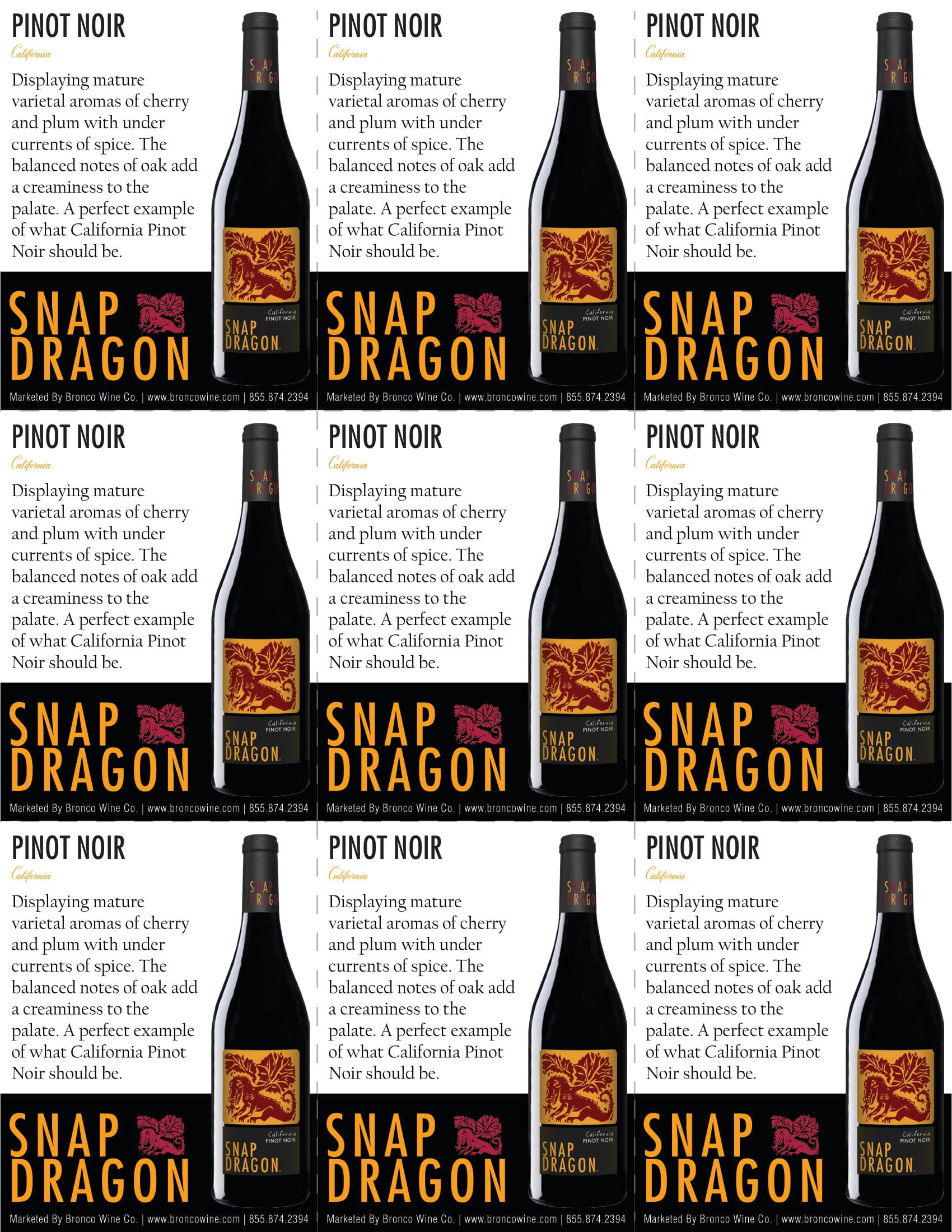 Snap Dragon Pinot Noir Shelf Talker