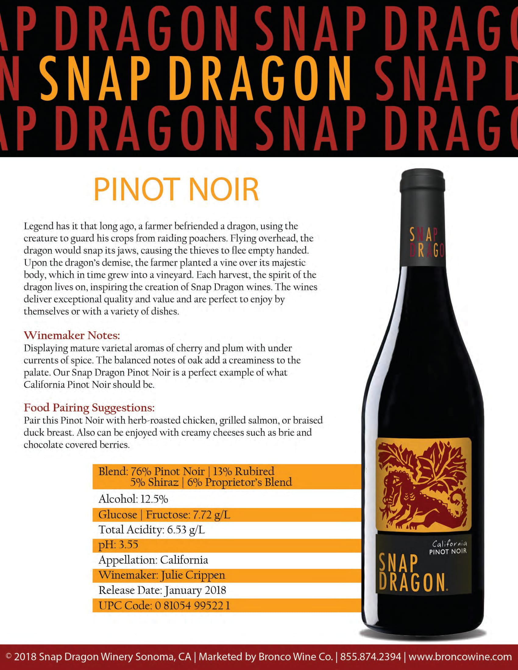 Snap Dragon Pinot Noir Tech Sheet