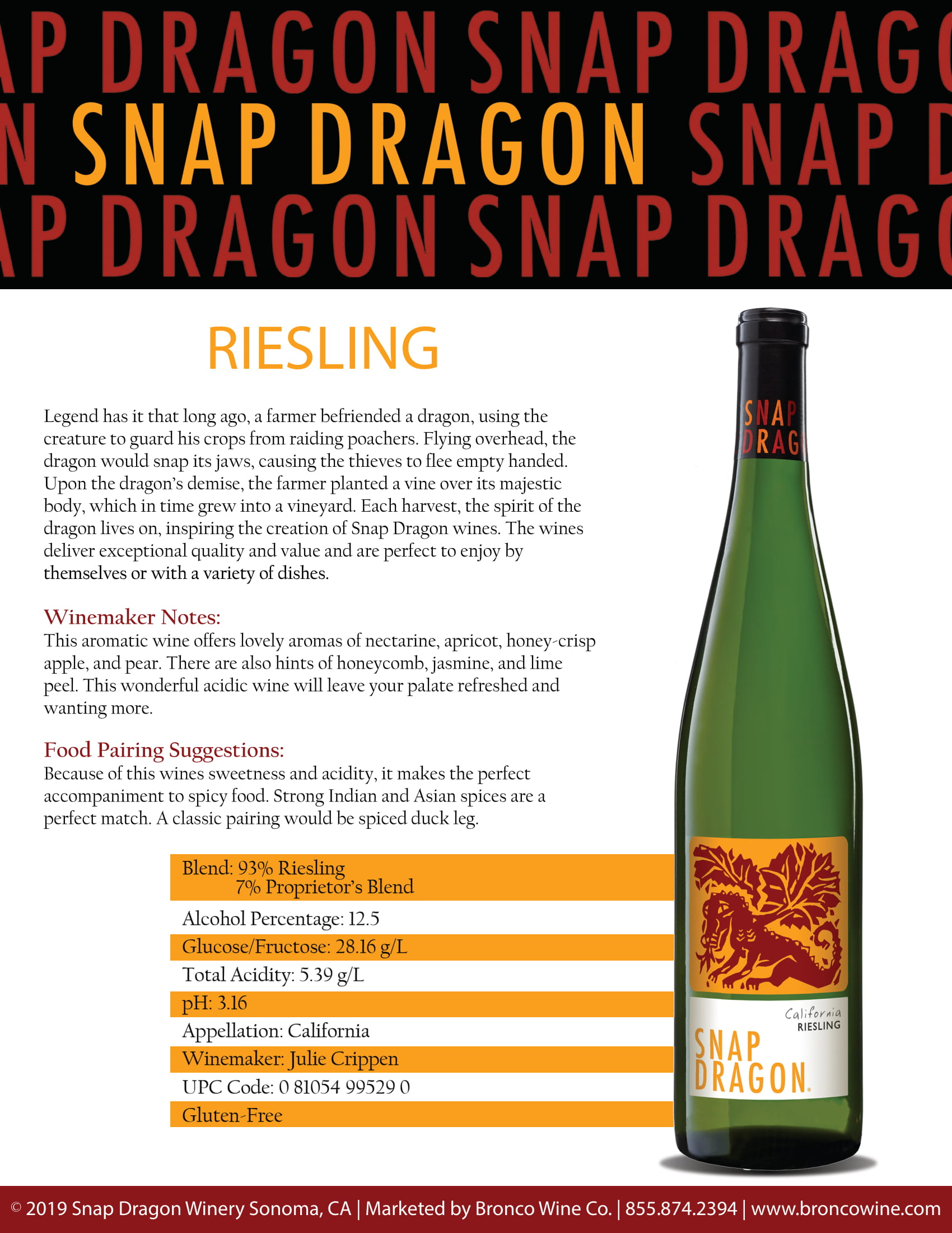 Snap Dragon Riesling Tech Sheet