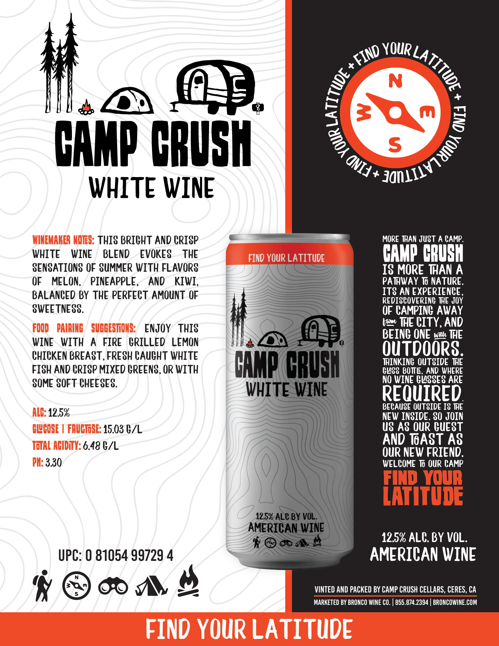 Camp Crush White Wine Sell Sheet