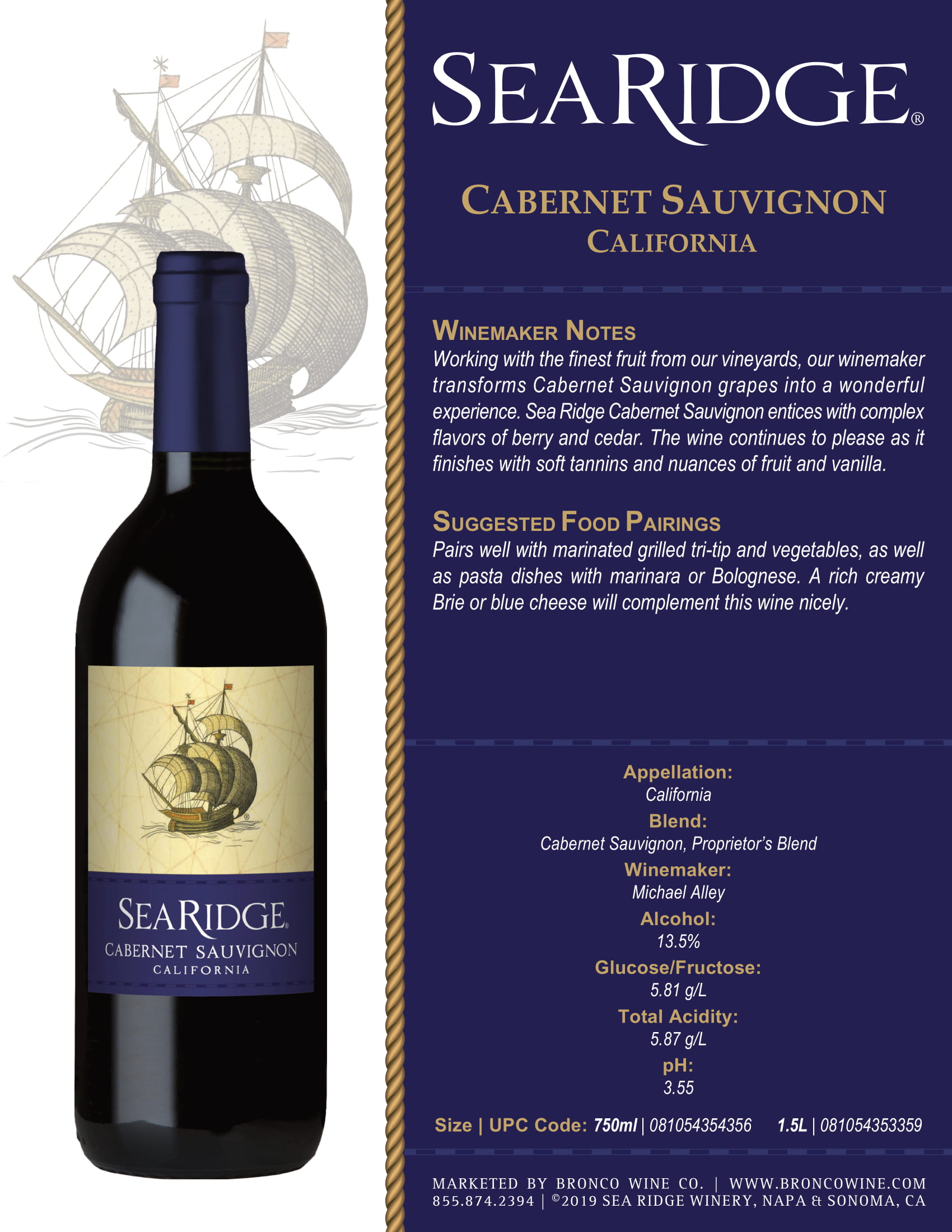 Sea Ridge Cabernet Sauvignon Sell Sheet