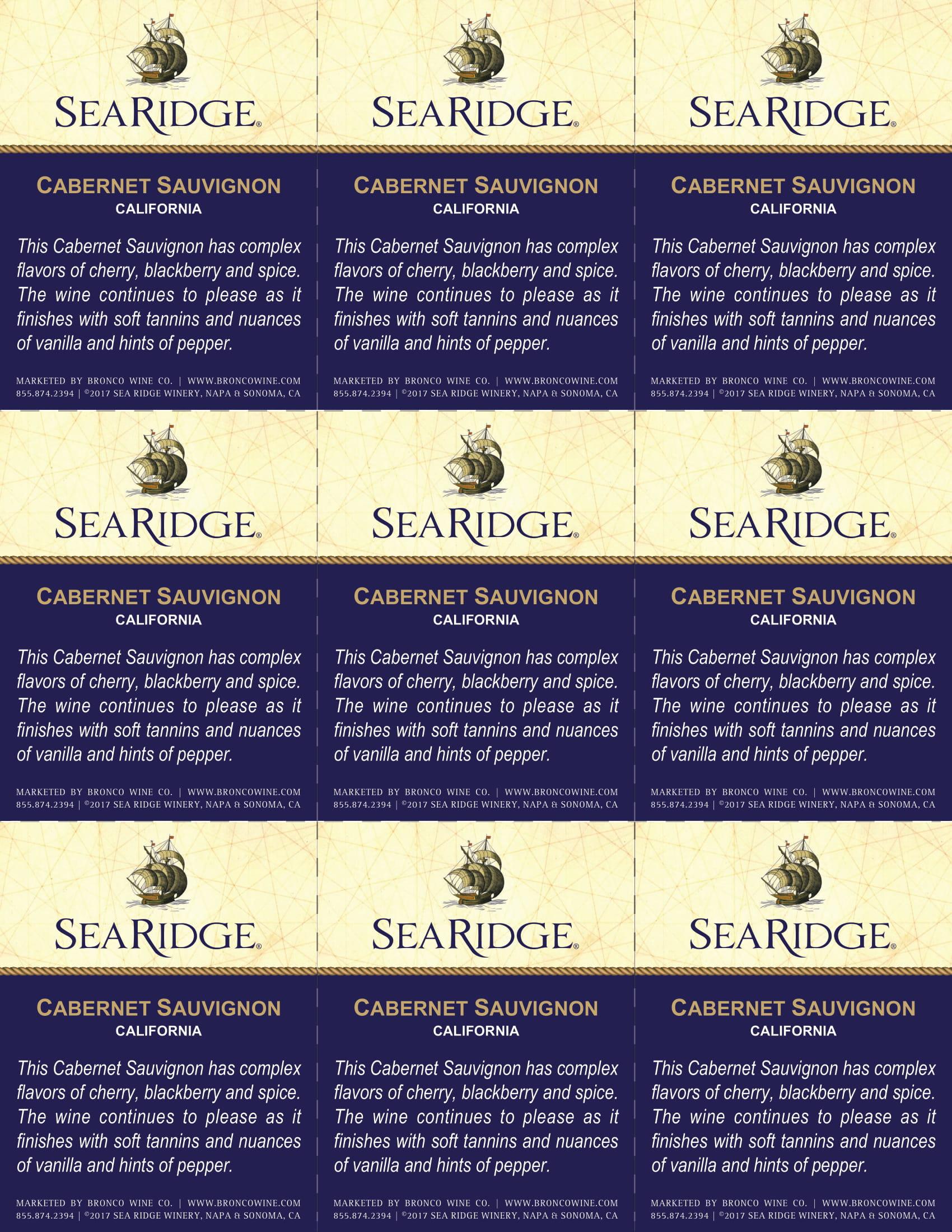 Sea Ridge Cabernet Sauvignon Shelf Talker