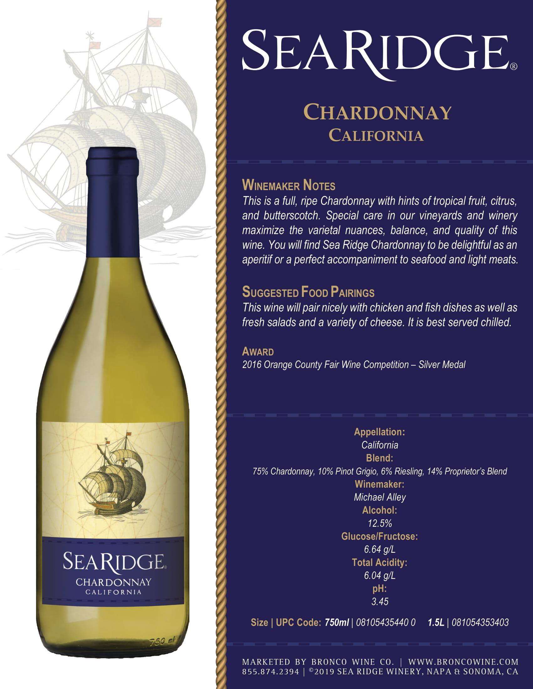 Sea Ridge Chardonnay Sell Sheet