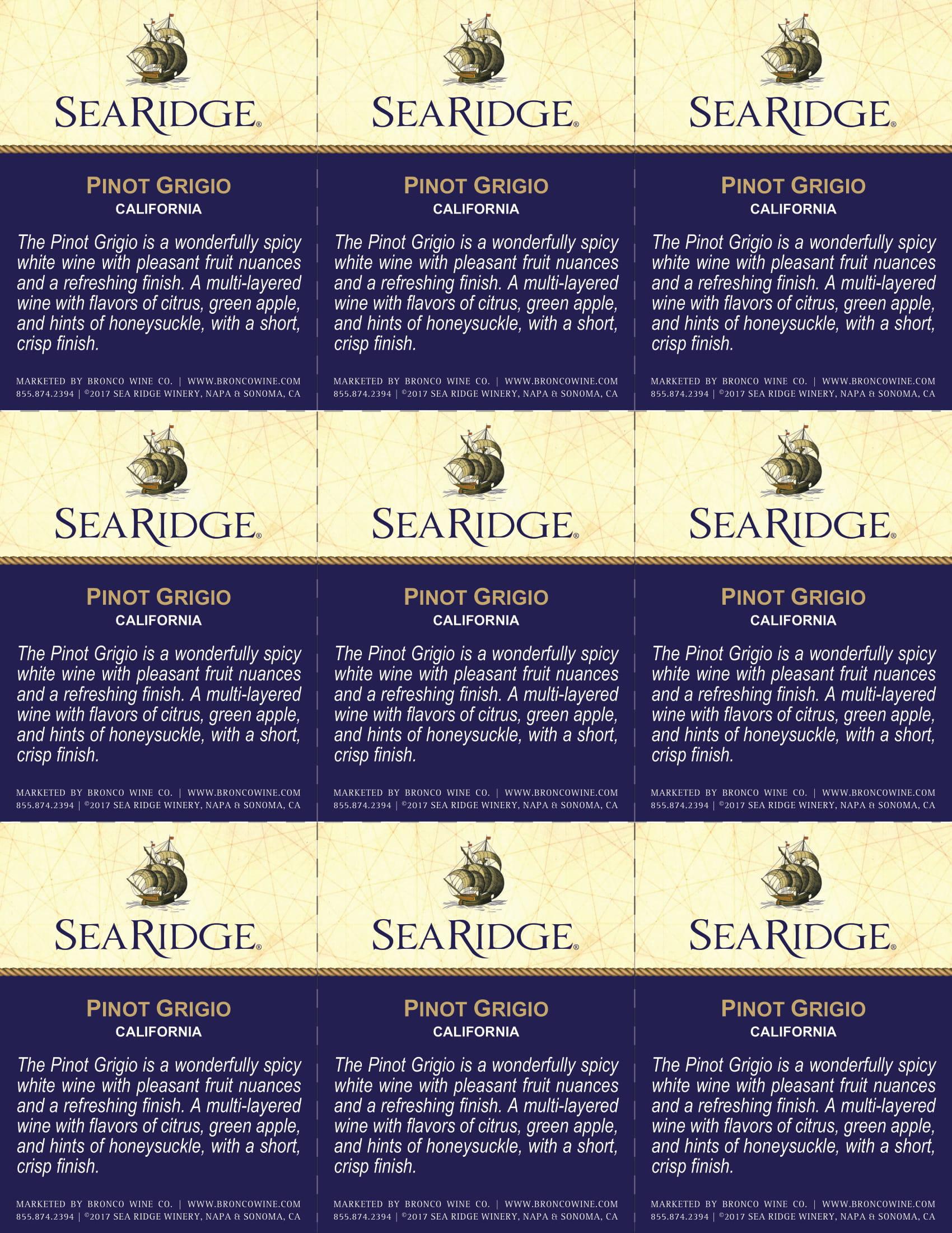 Sea Ridge Pinot Grigio Shelf Talker