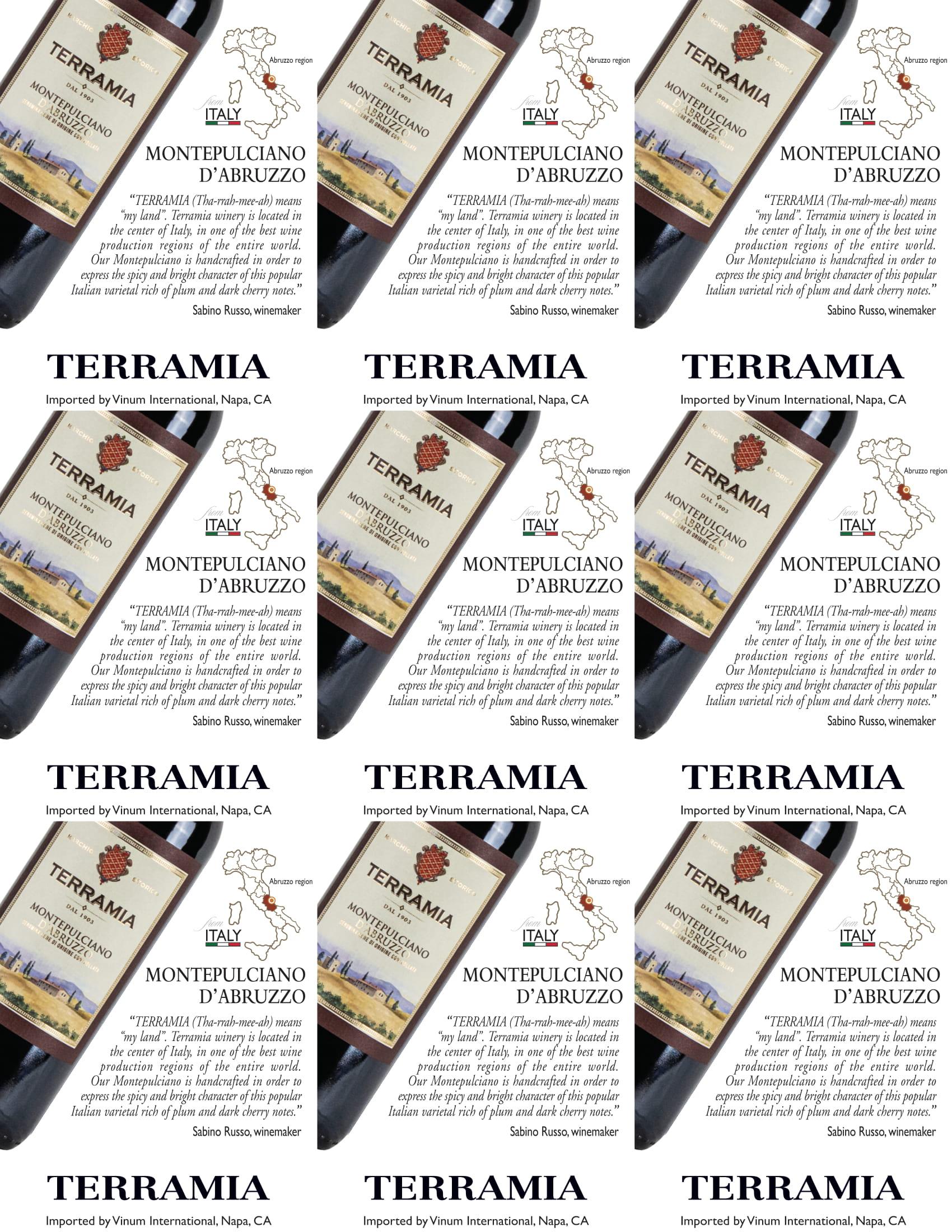 Terramia Montepulciano D'Abruzzo Shelf Talker