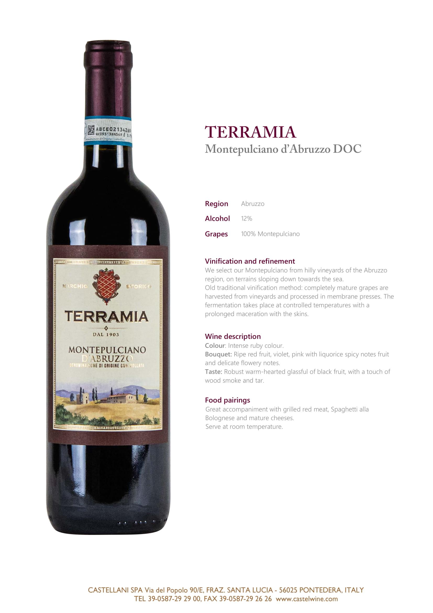 Terramia Montepulciano D'Abruzzo Tech Sheet