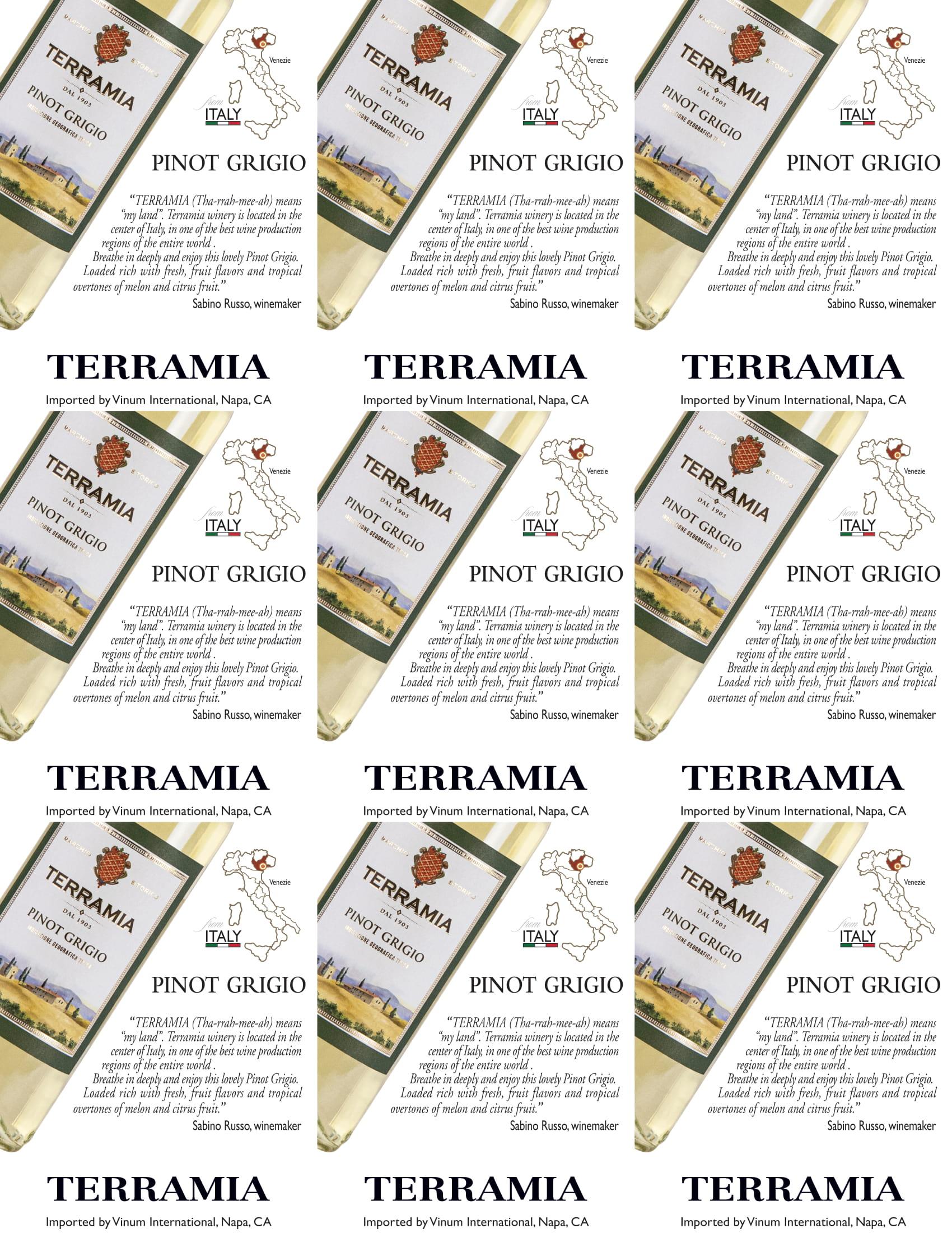Terramia Pinot Grigio Shelf Talker