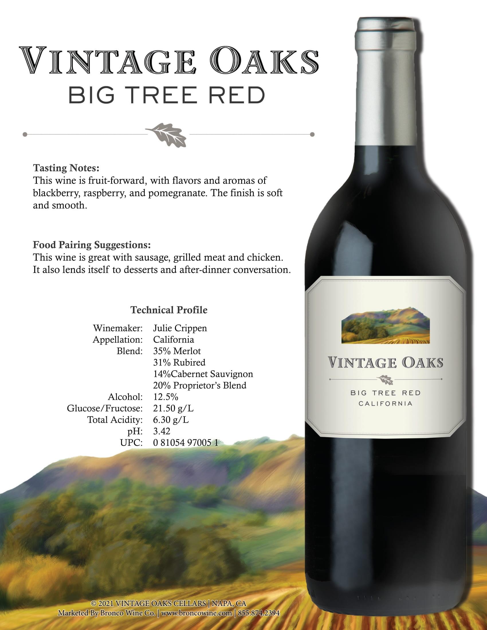 Vintage Oaks Big Tree Red Blend Tech Sheet