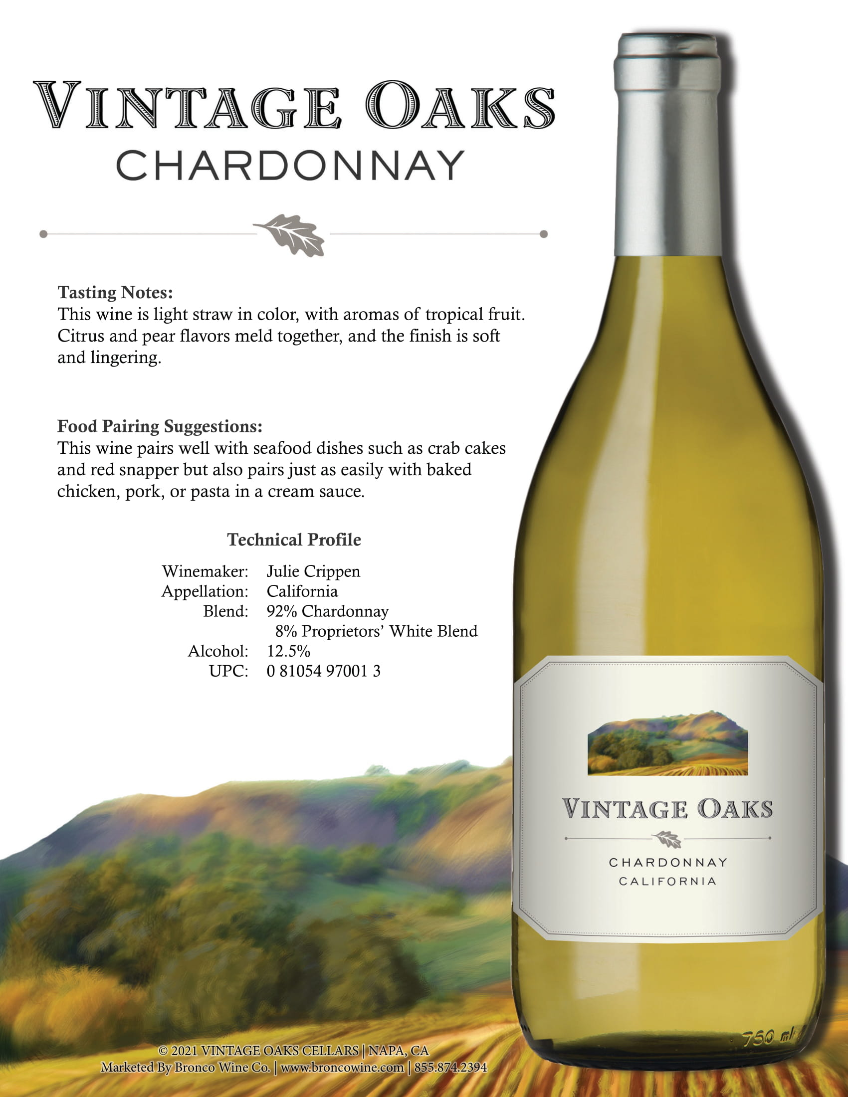Vintage Oaks Chardonnay Tech Sheet