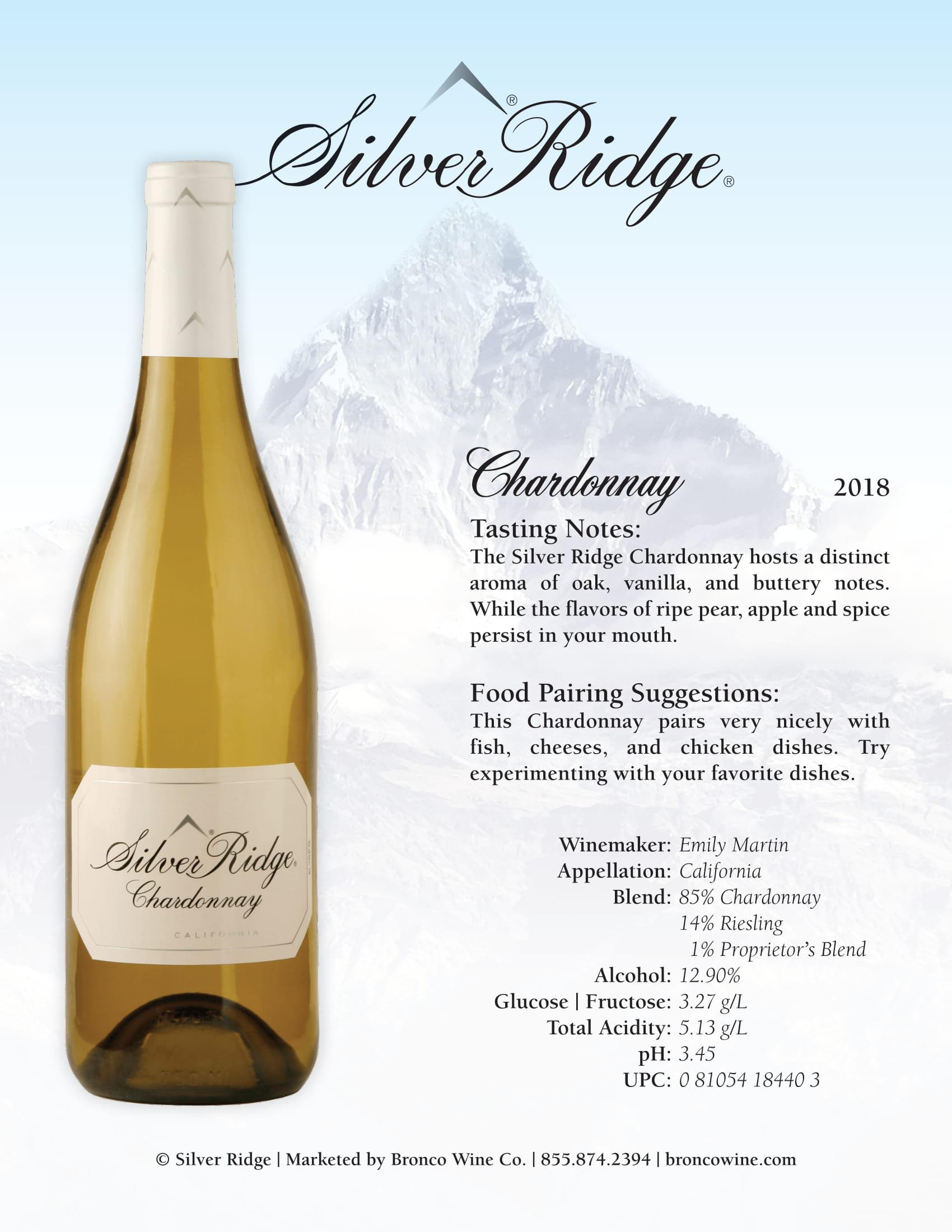 Silver Ridge Chardonnay Sell Sheet
