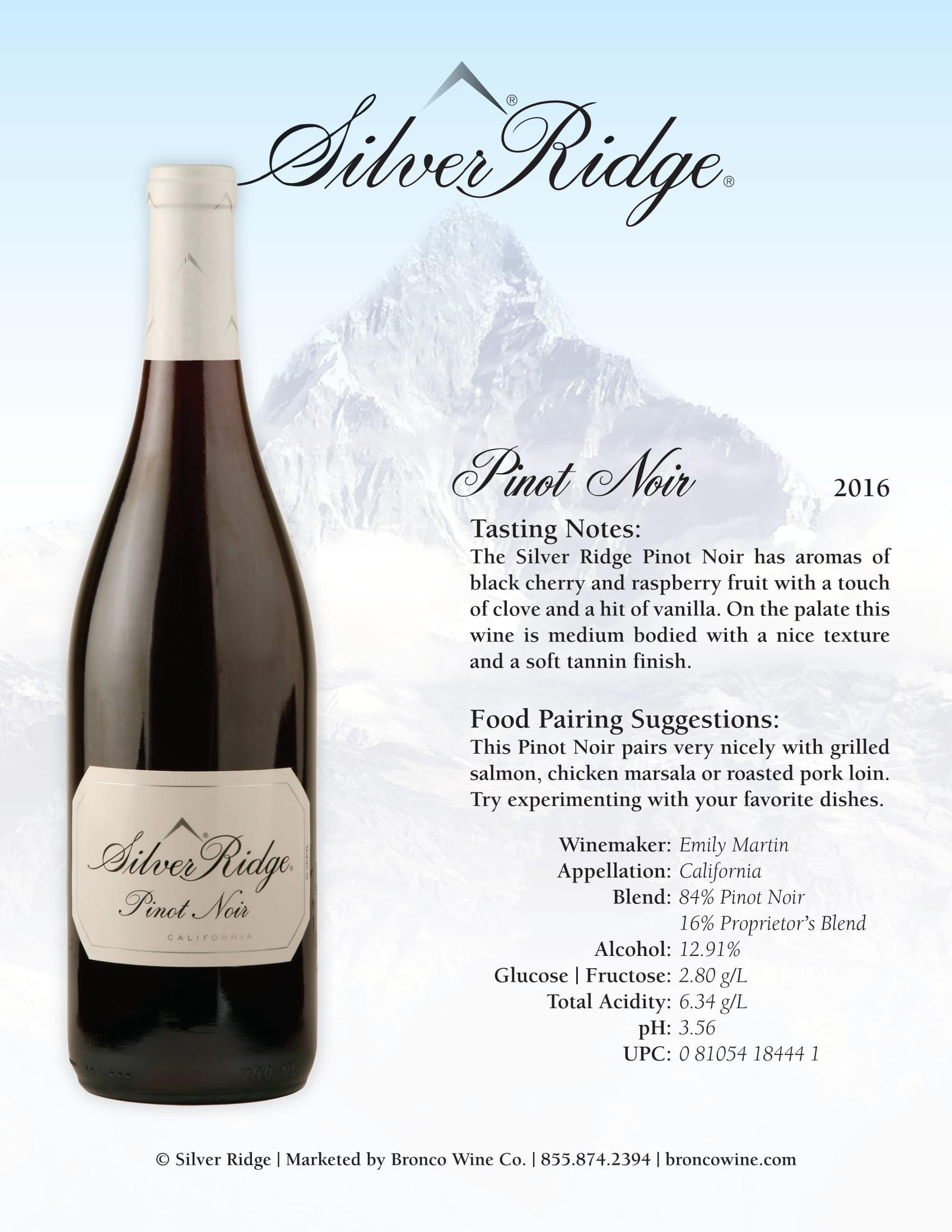 Silver Ridge Pinot Noir Sell Sheet