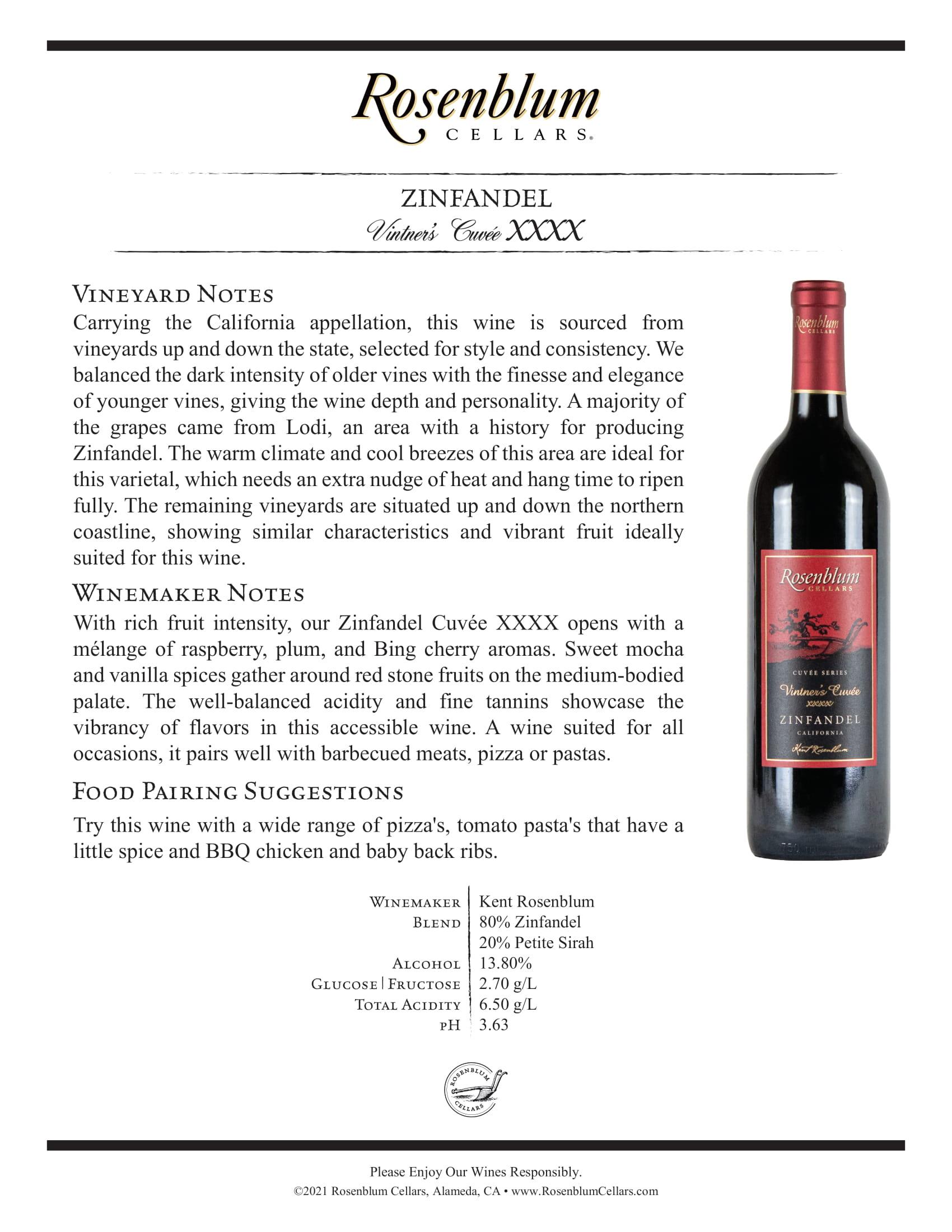 Rosenblum Cellars Vintner's Cuvée XXXX Zinfandel Tech Sheet