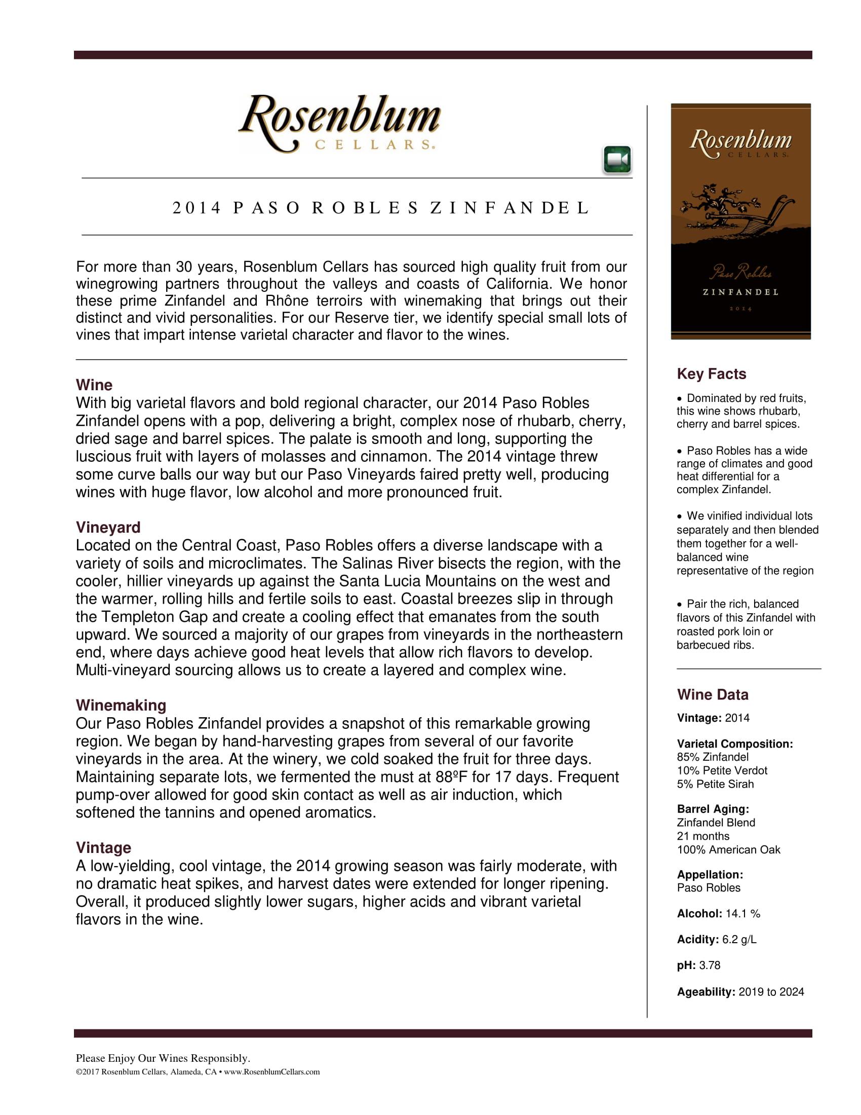 Rosenblum Cellars Zinfandel Paso Robles Tech Sheet