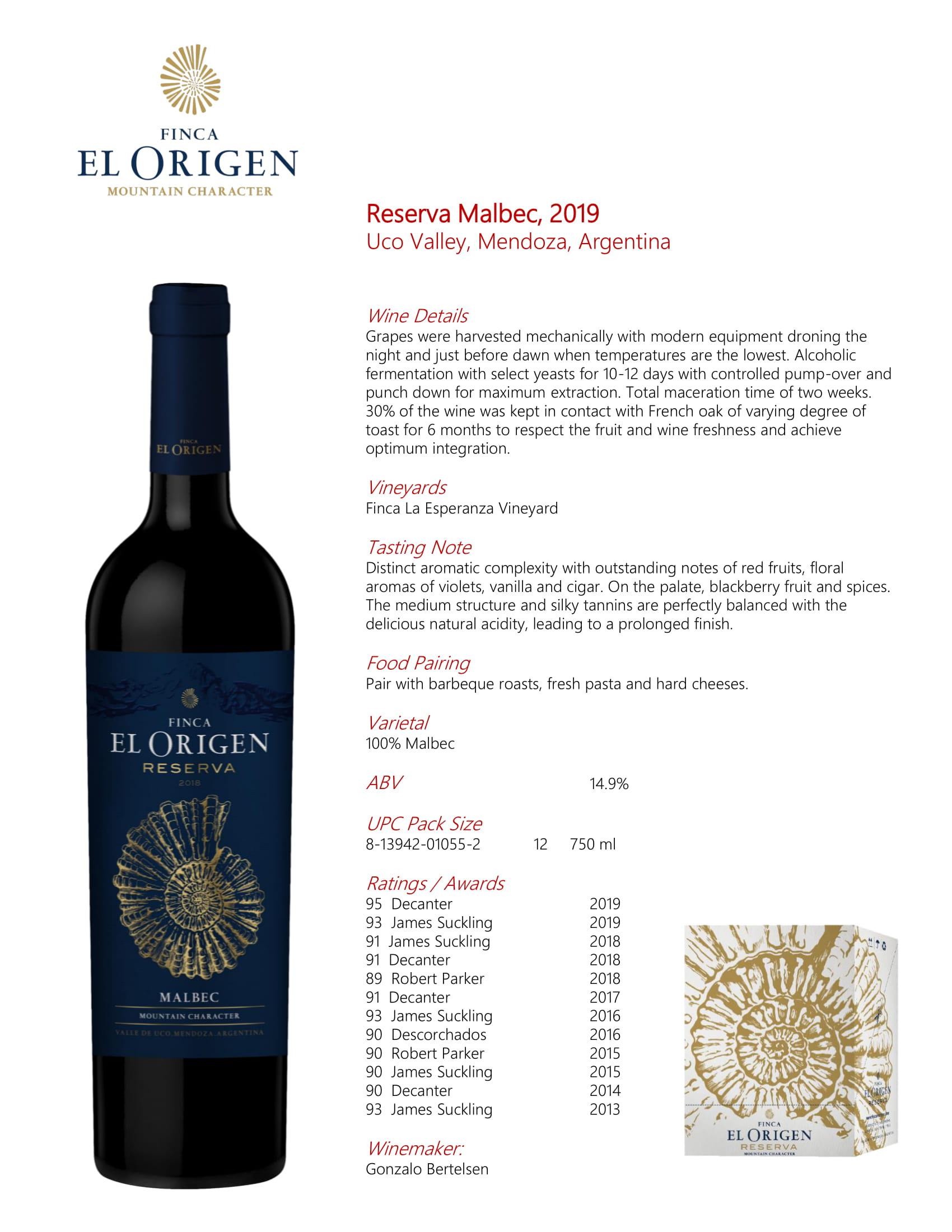 Finca El Origen Reserva Malbec Tech Sheet