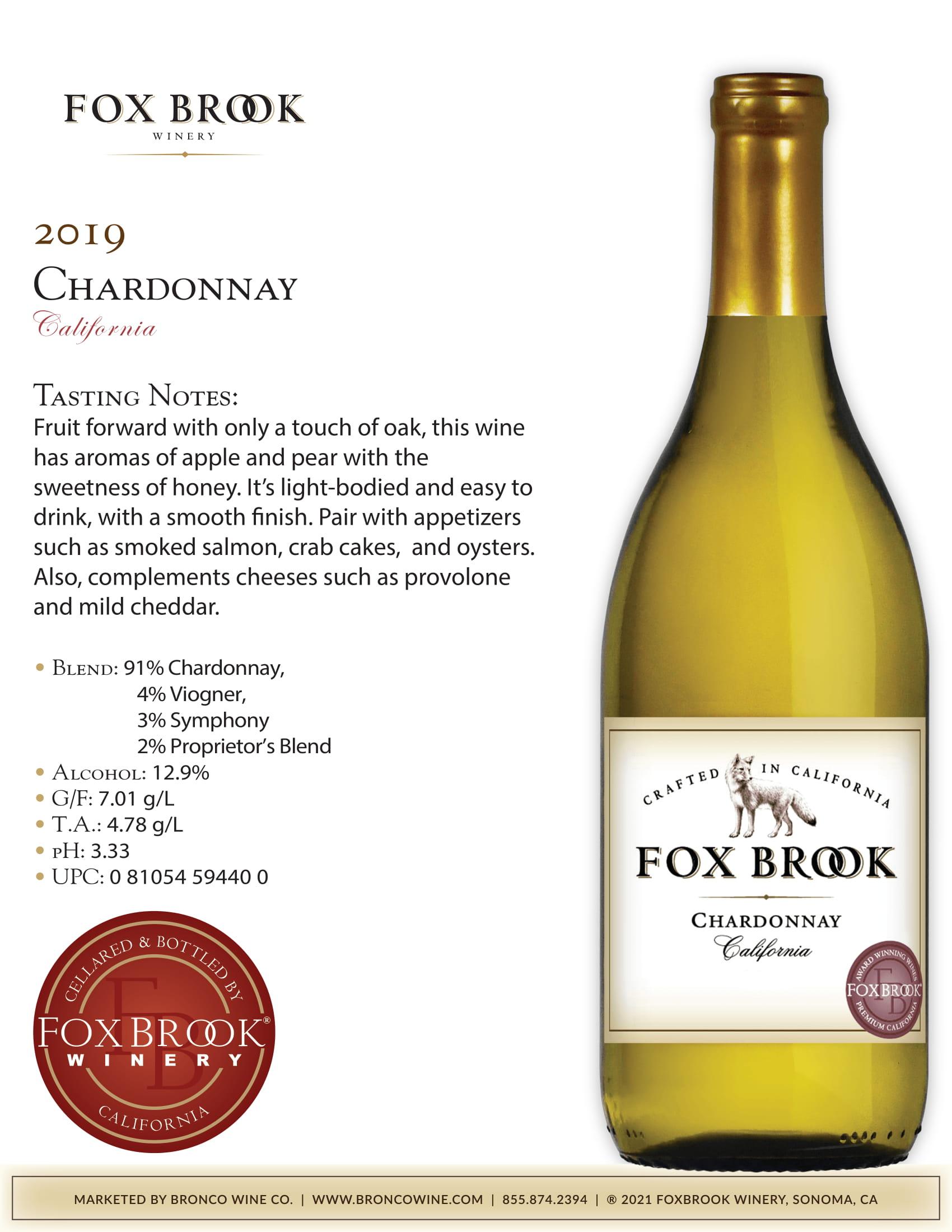 Fox Brook Chardonnay Tech Sheet