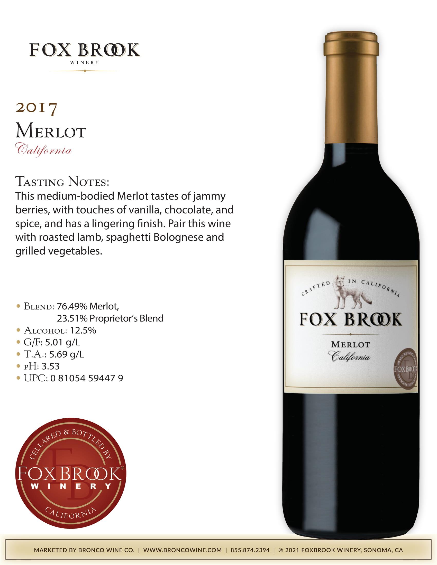 Fox Brook Merlot Tech Sheet
