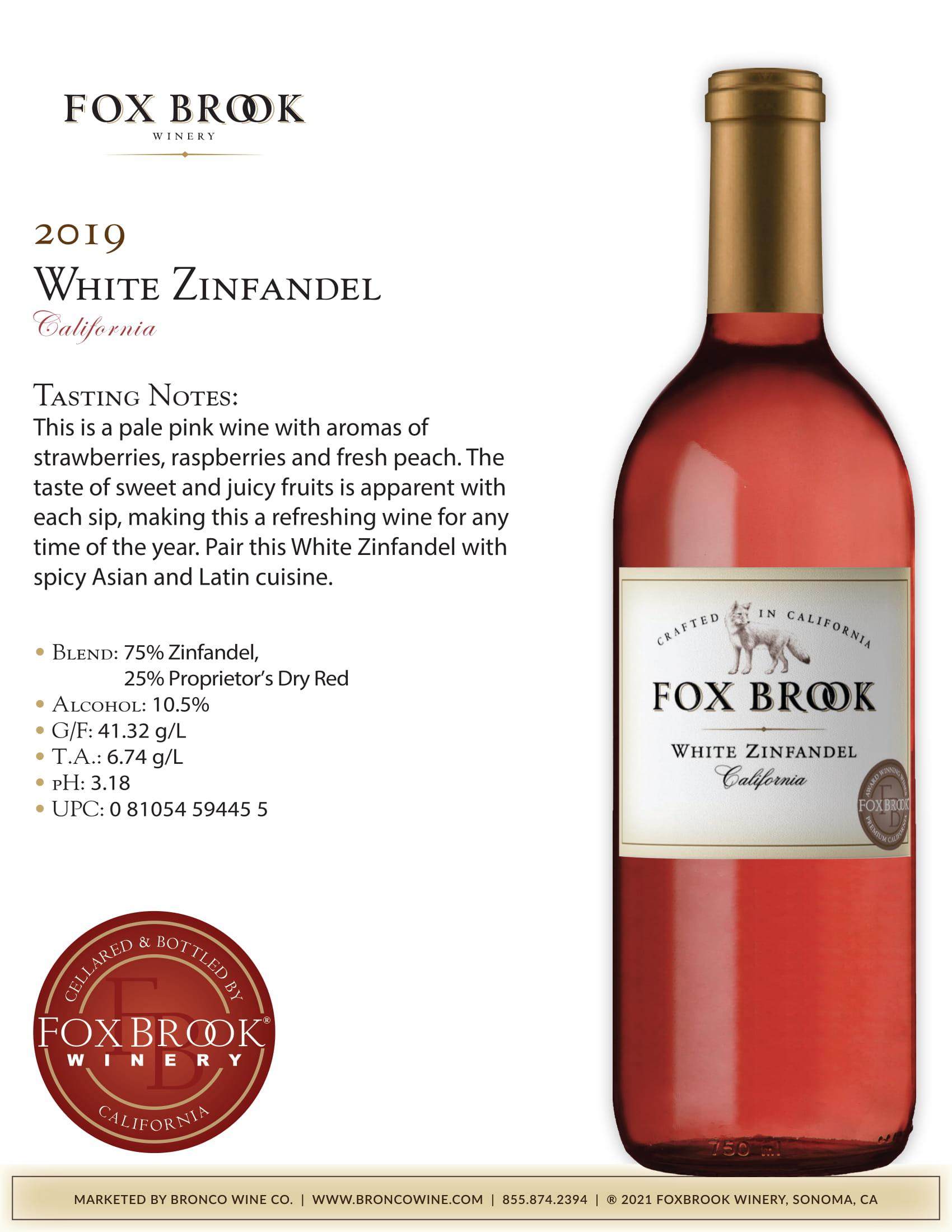Fox Brook White Zinfandel Tech Sheet