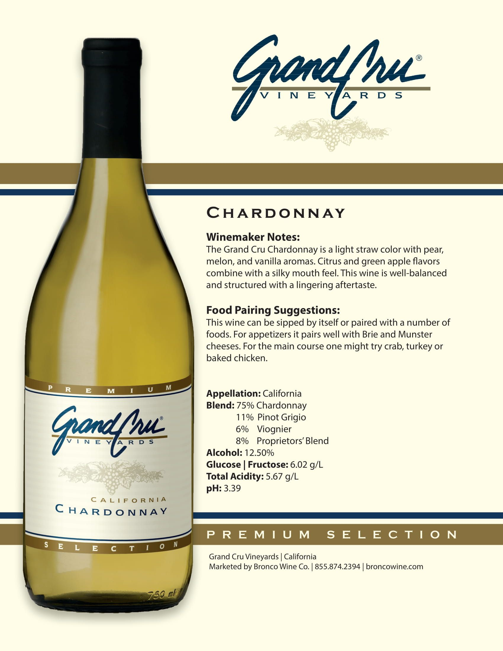 Grand Cru Chardonnay Tech Sheet