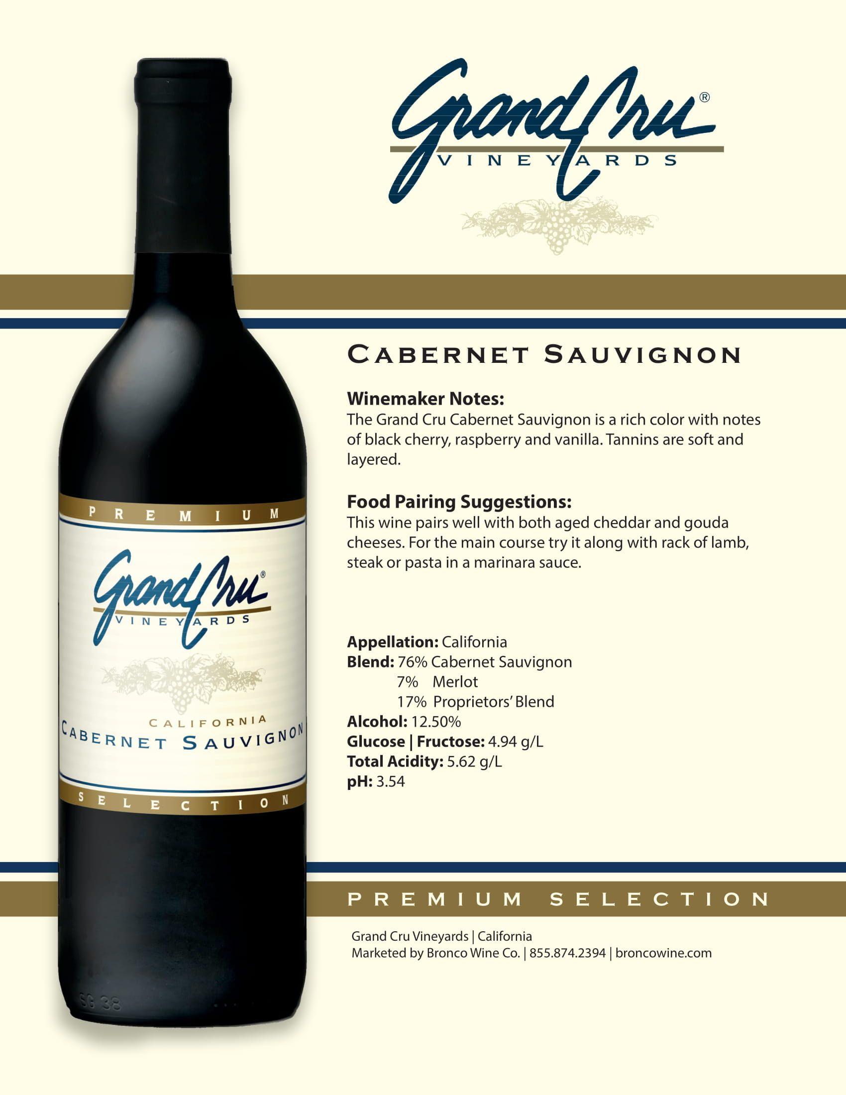 Grand Cru Cabernet Sauvignon Tech Sheet