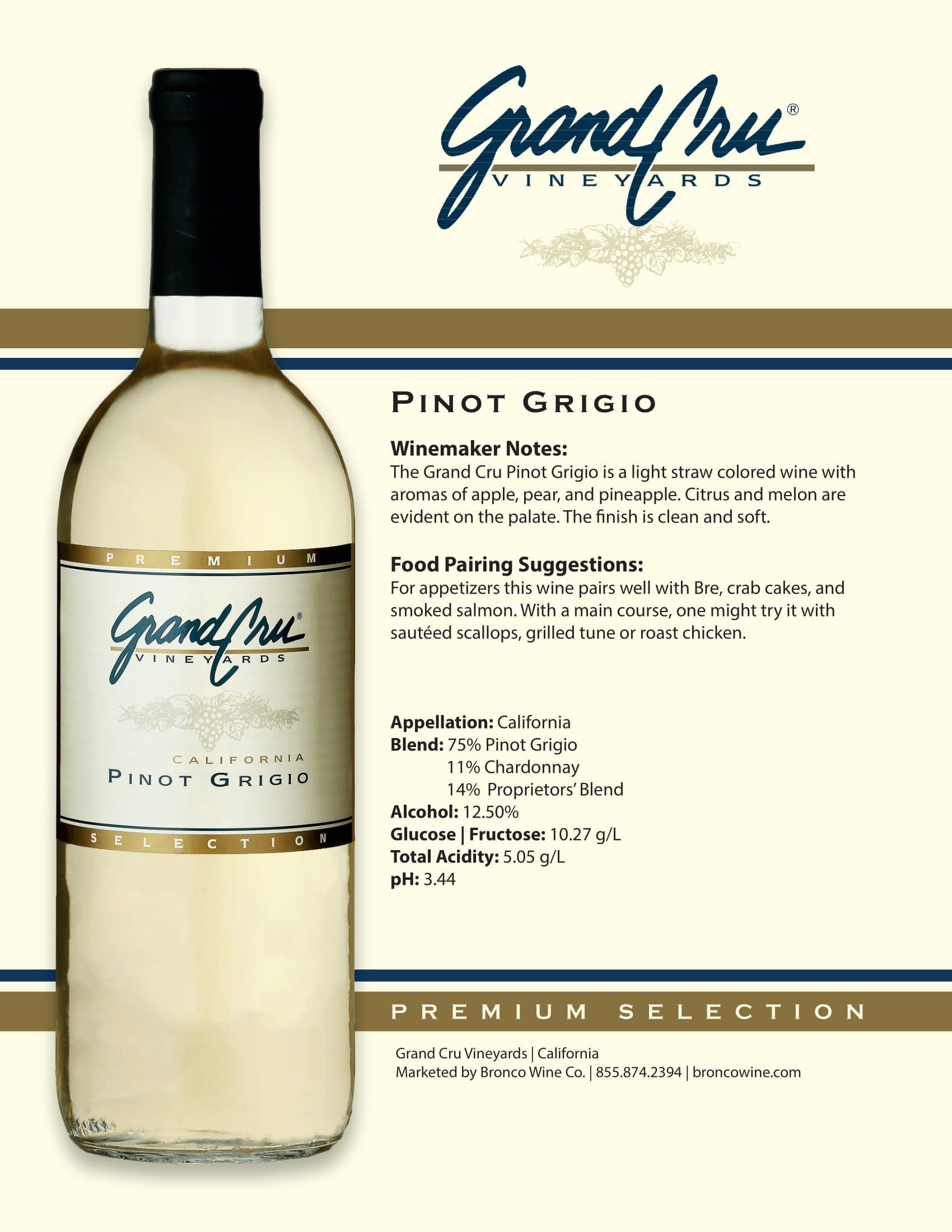 Grand Cru Pinot Grigio Tech Sheet