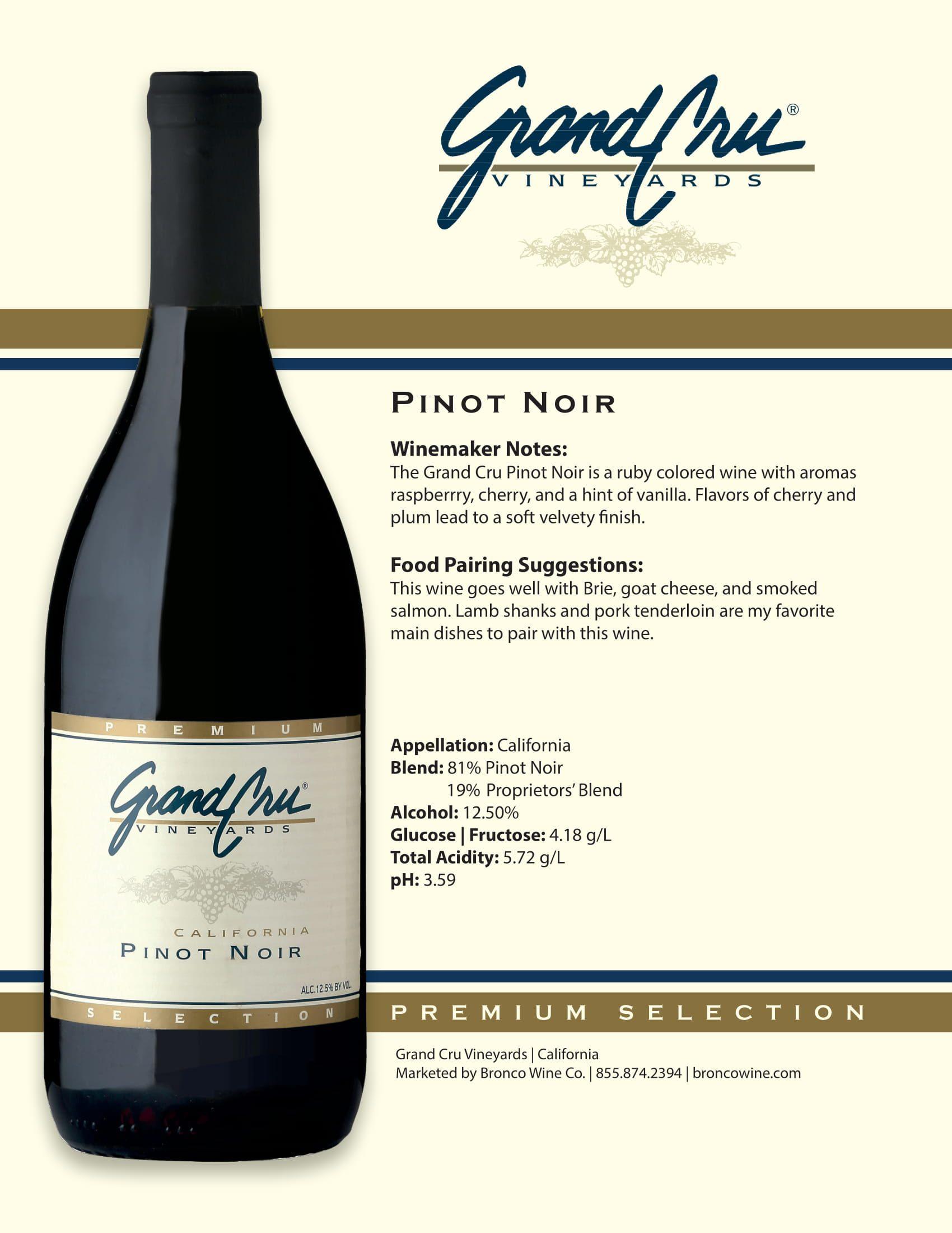 Grand Cru Pinot Noir Tech Sheet