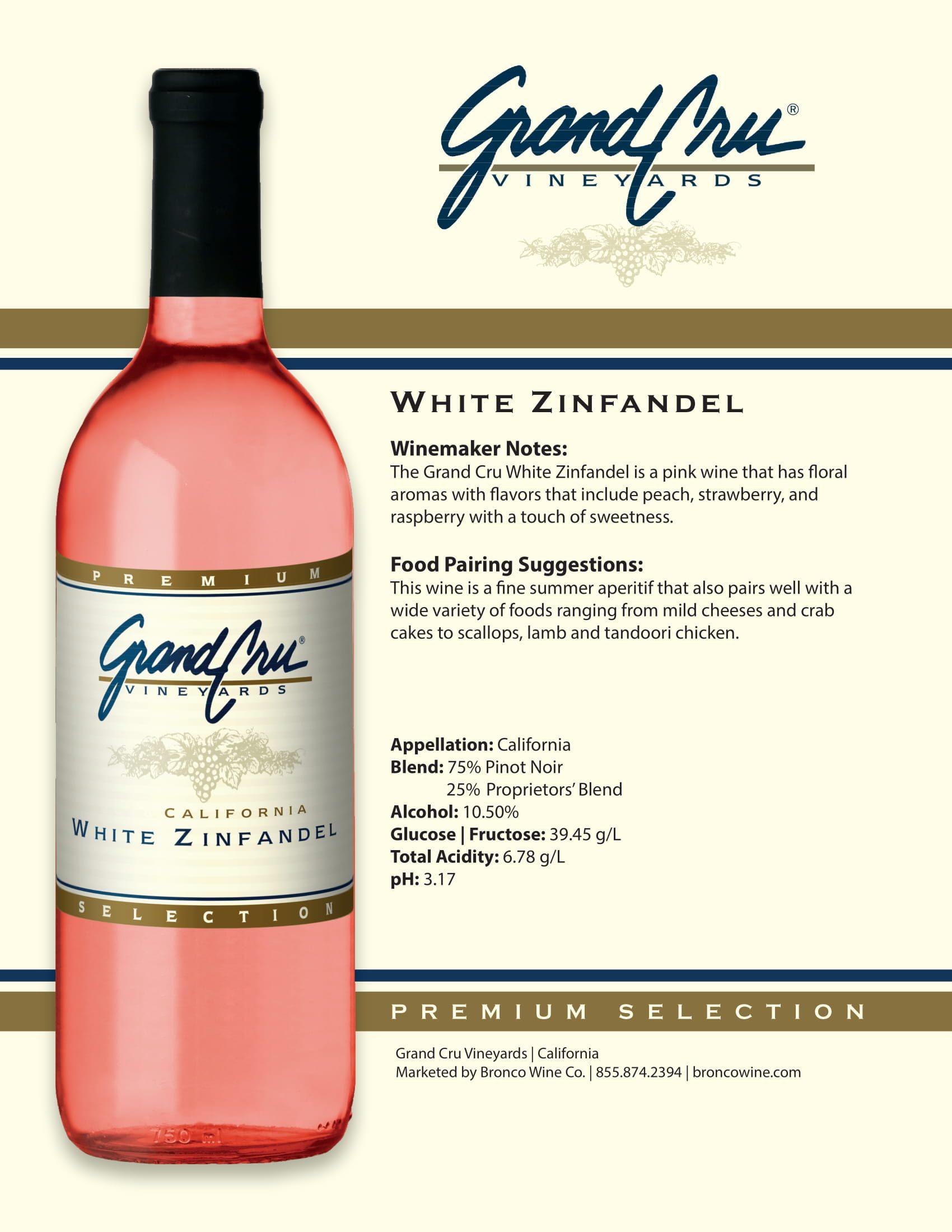 Grand Cru White Zinfandel Tech Sheet