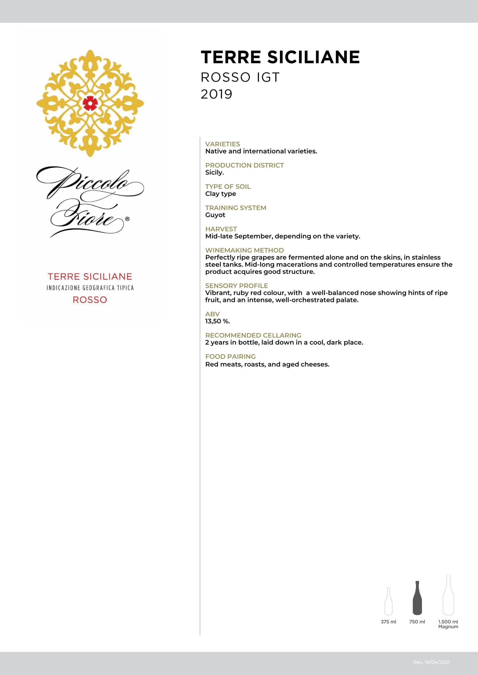 Piccolo Fiore Rosso Terre Siciliane Tech Sheet