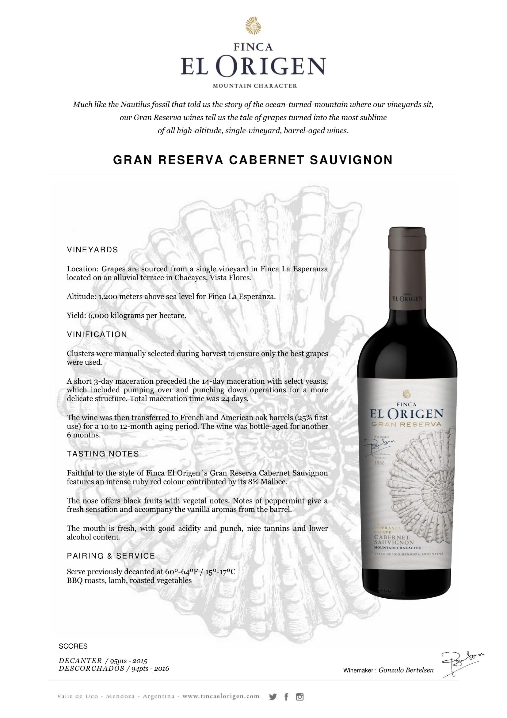 Finca El Origen Gran Reserva Cabernet Sauvignon Tech Sheet