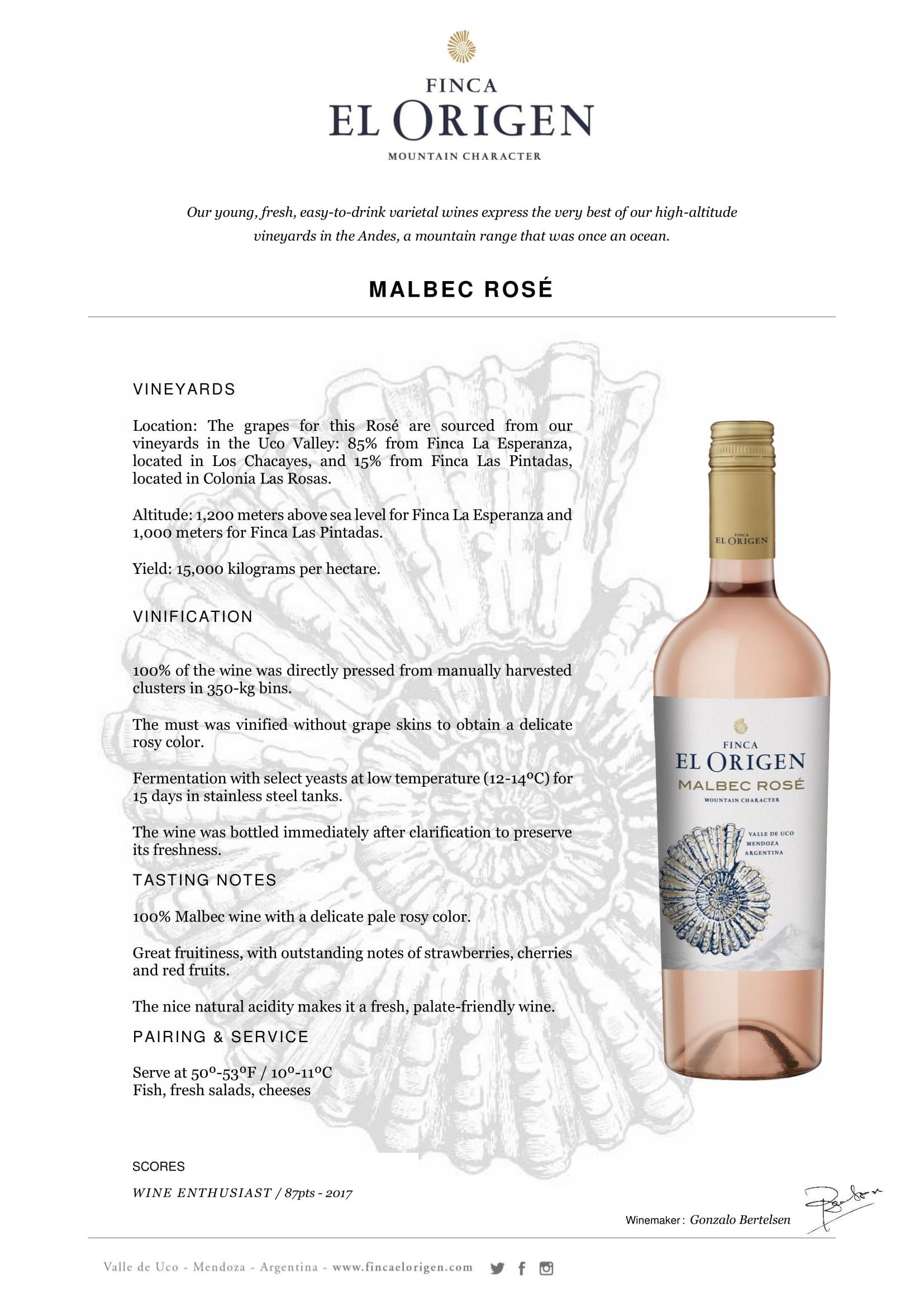 Finca El Origen Malbec Rosé Tech Sheet