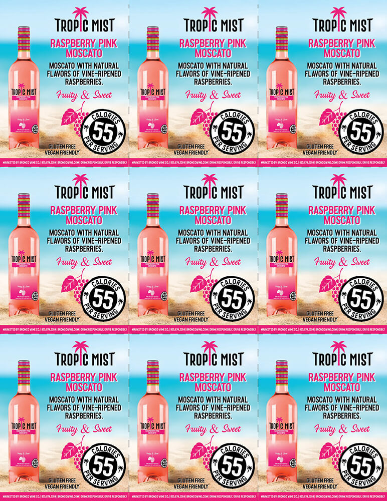 Tropic Mist Raspberry Pink Moscato Shelf Talkers