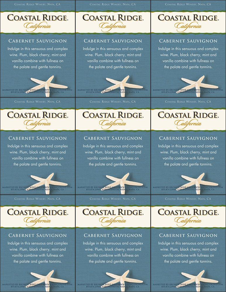 Coastal Ridge Cabernet Sauvignon Shelf Talker