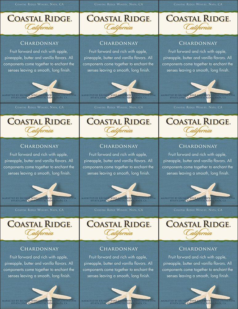 Coastal Ridge Chardonnay Shelf Talker
