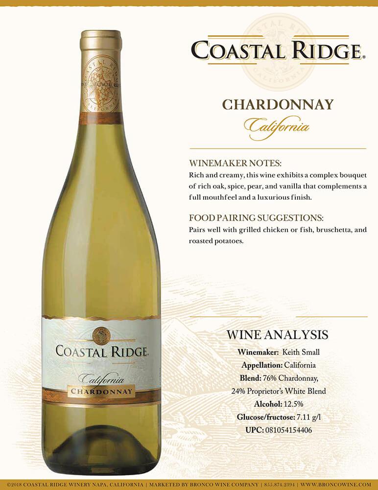 Coastal Ridge Chardonnay Tech Sheet