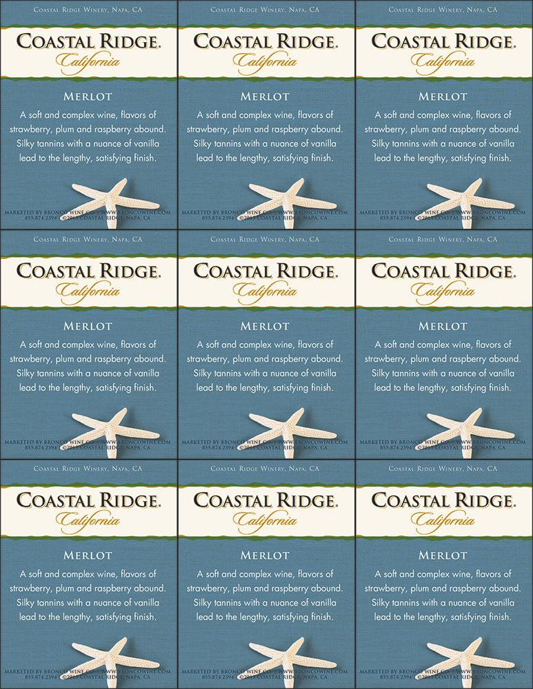 Coastal Ridge Merlot Shelf Talker