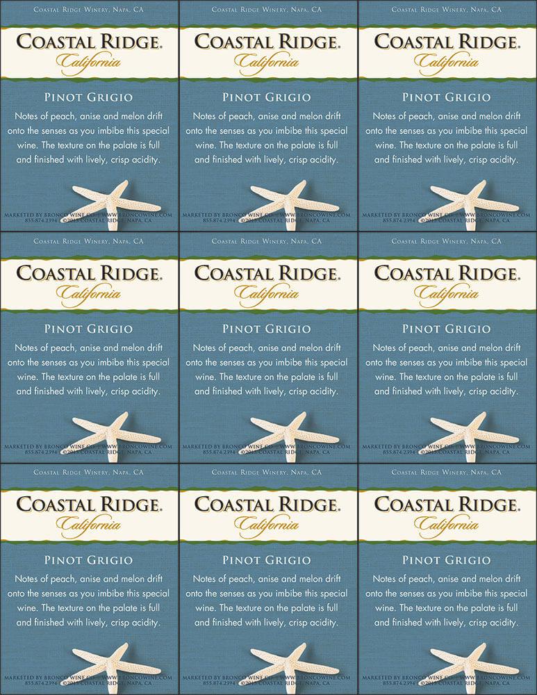 Coastal Ridge Pinot Grigio Shelf talker