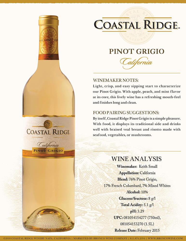 Coastal Ridge Pinot Grigio Tech Sheet