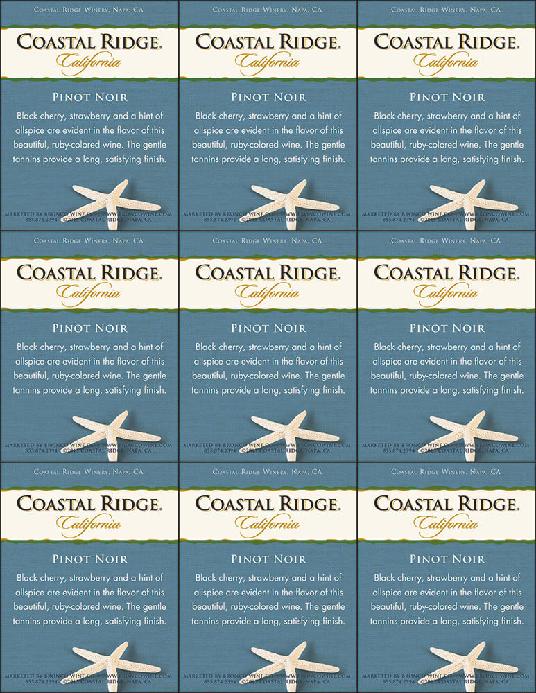 Coastal Ridge Pinot Noir Shelf Talker